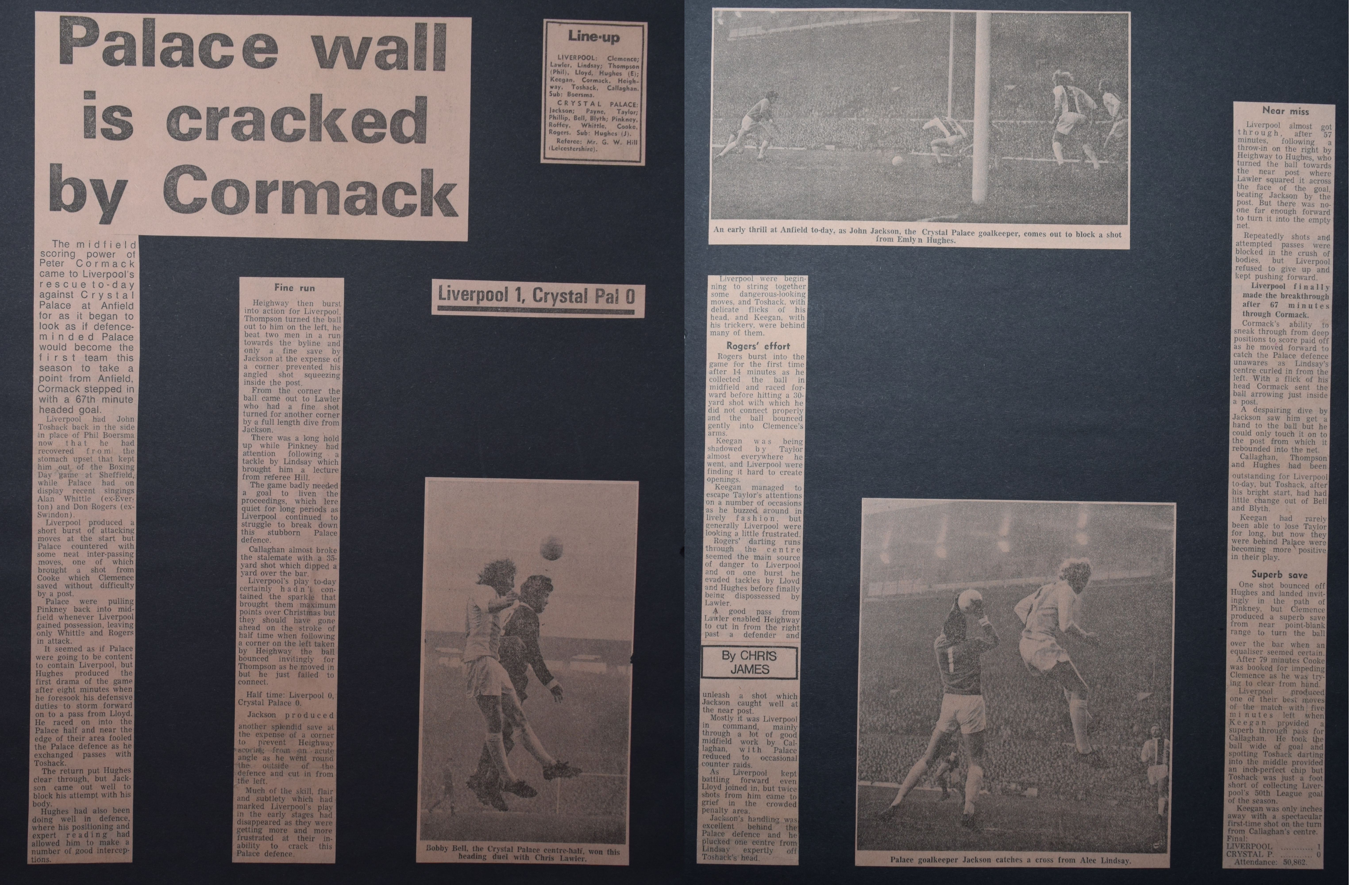 Palace wall is cracked by Cormack! - 30 December 1972