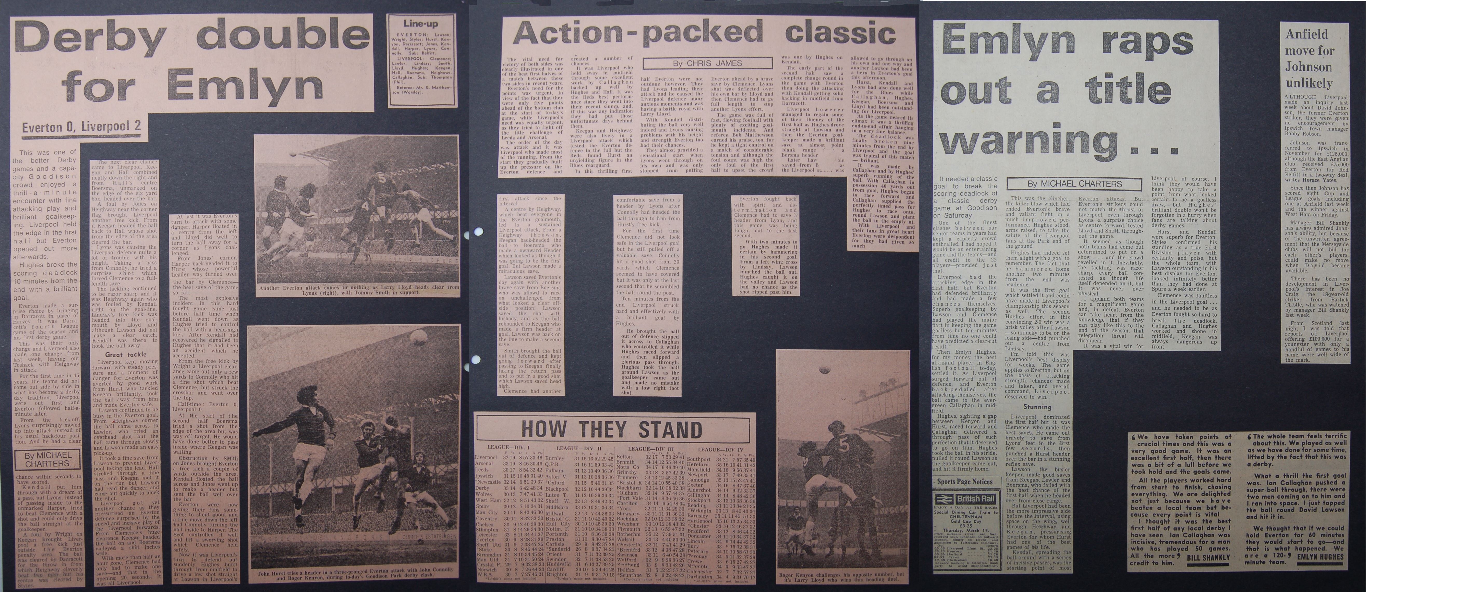 Emlyn's derby double on 3 March 1973