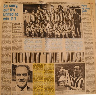 Albert Stubbins predicts a 2-1 win for Newcastle in the 1974 FA Cup final