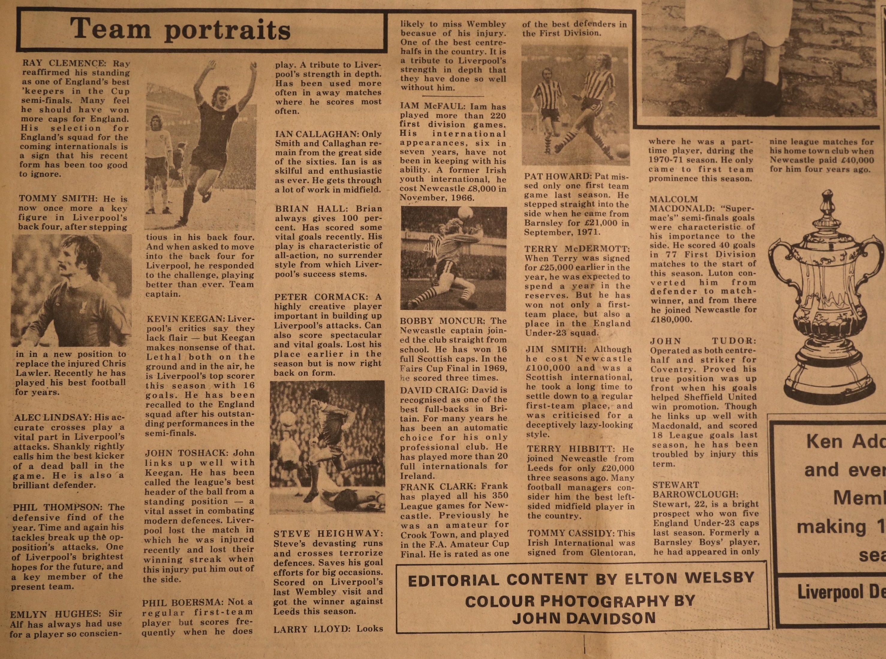 Newcastle and Liverpool team profiles for the 1974 cup final