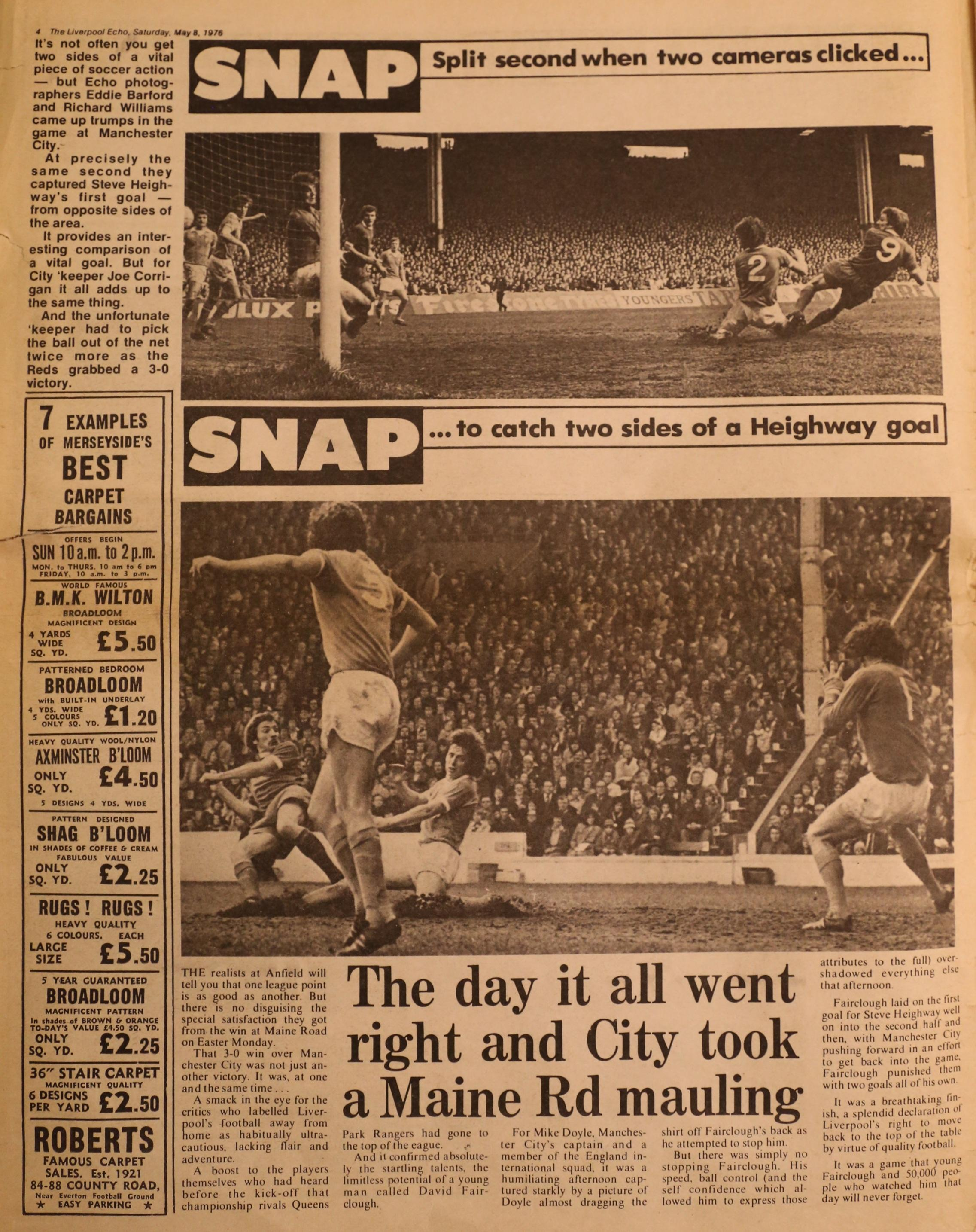 Heighway scores against Manchester City on 19 April 1976