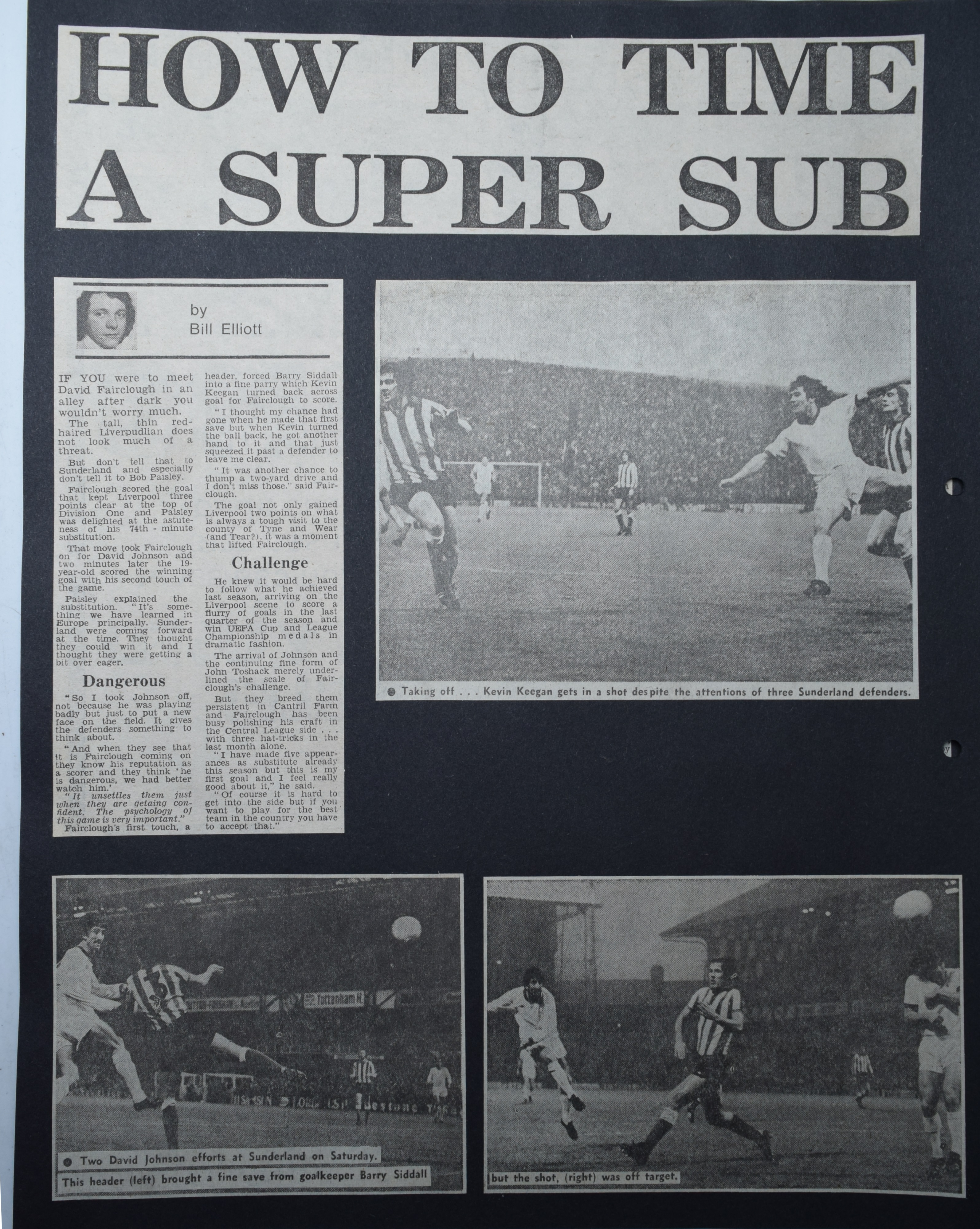 How to time a super-sub - 6 November 1976