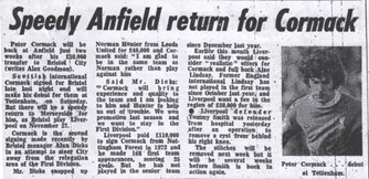 Speedy return for Cormack - 11 November 1976