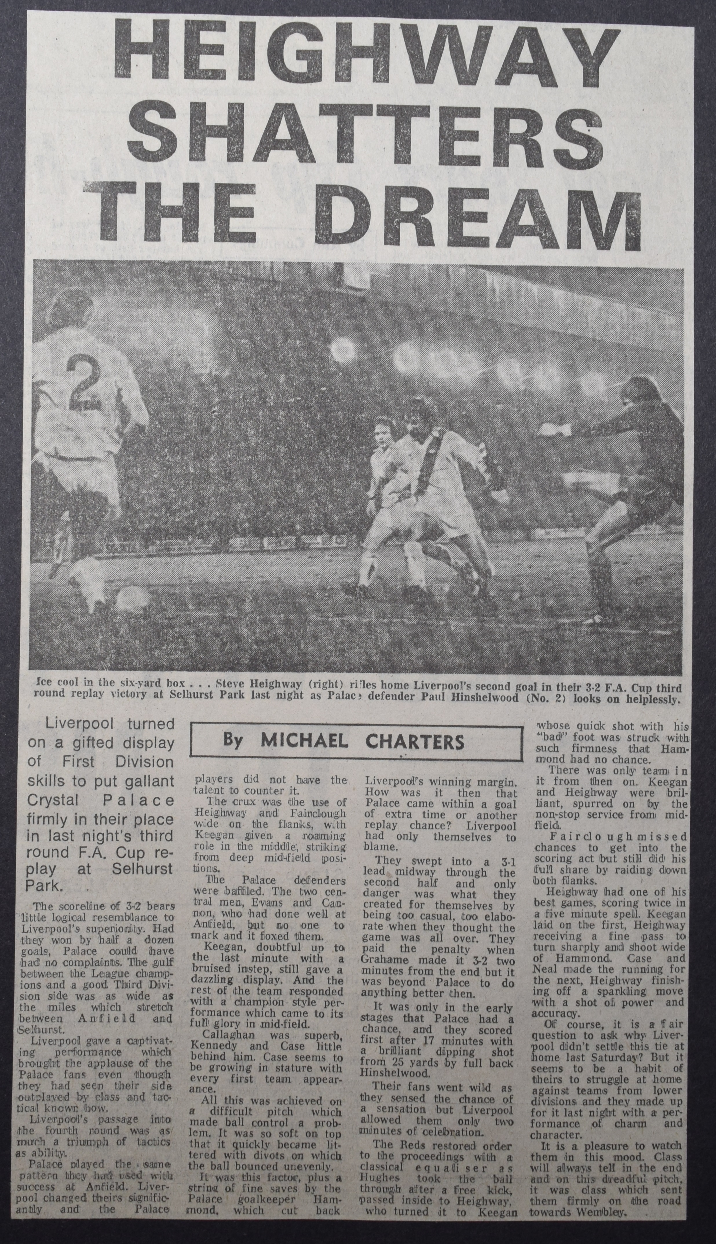 Heighway shatters the dream - 1 November 1977
