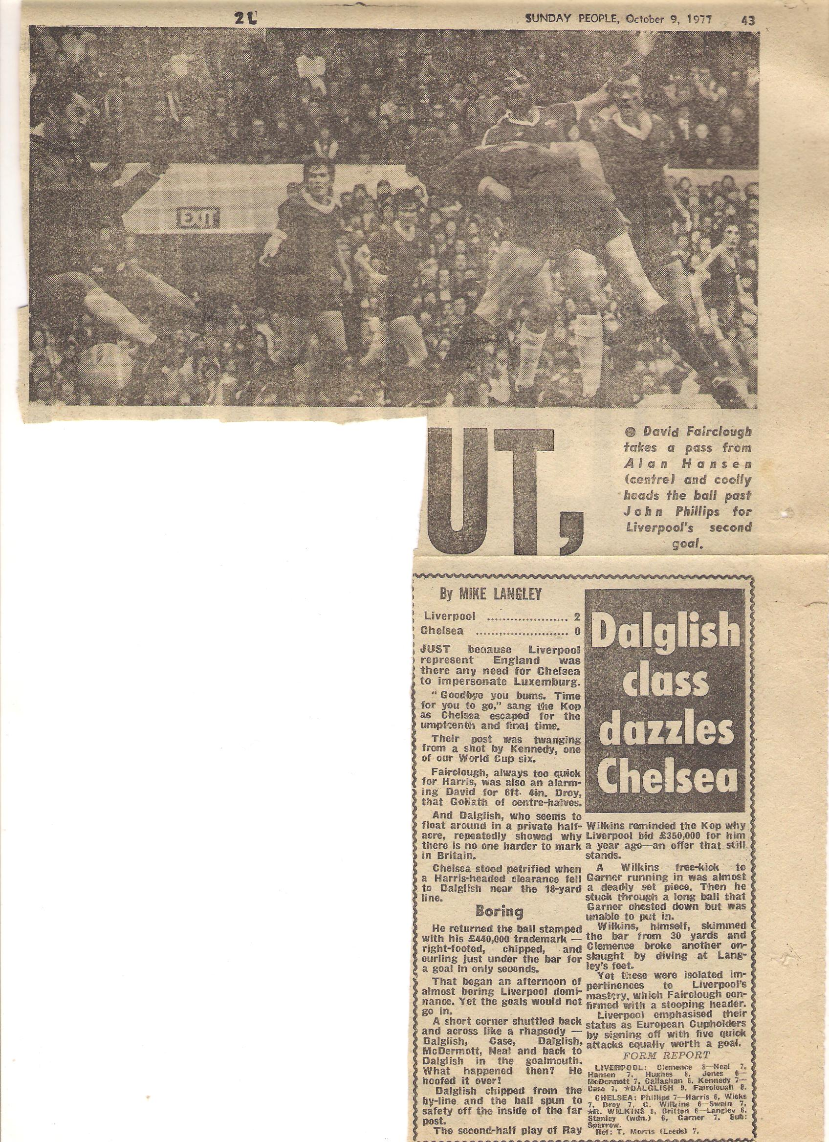 Dalglish class dazzles Chelsea - 8 October 1977
