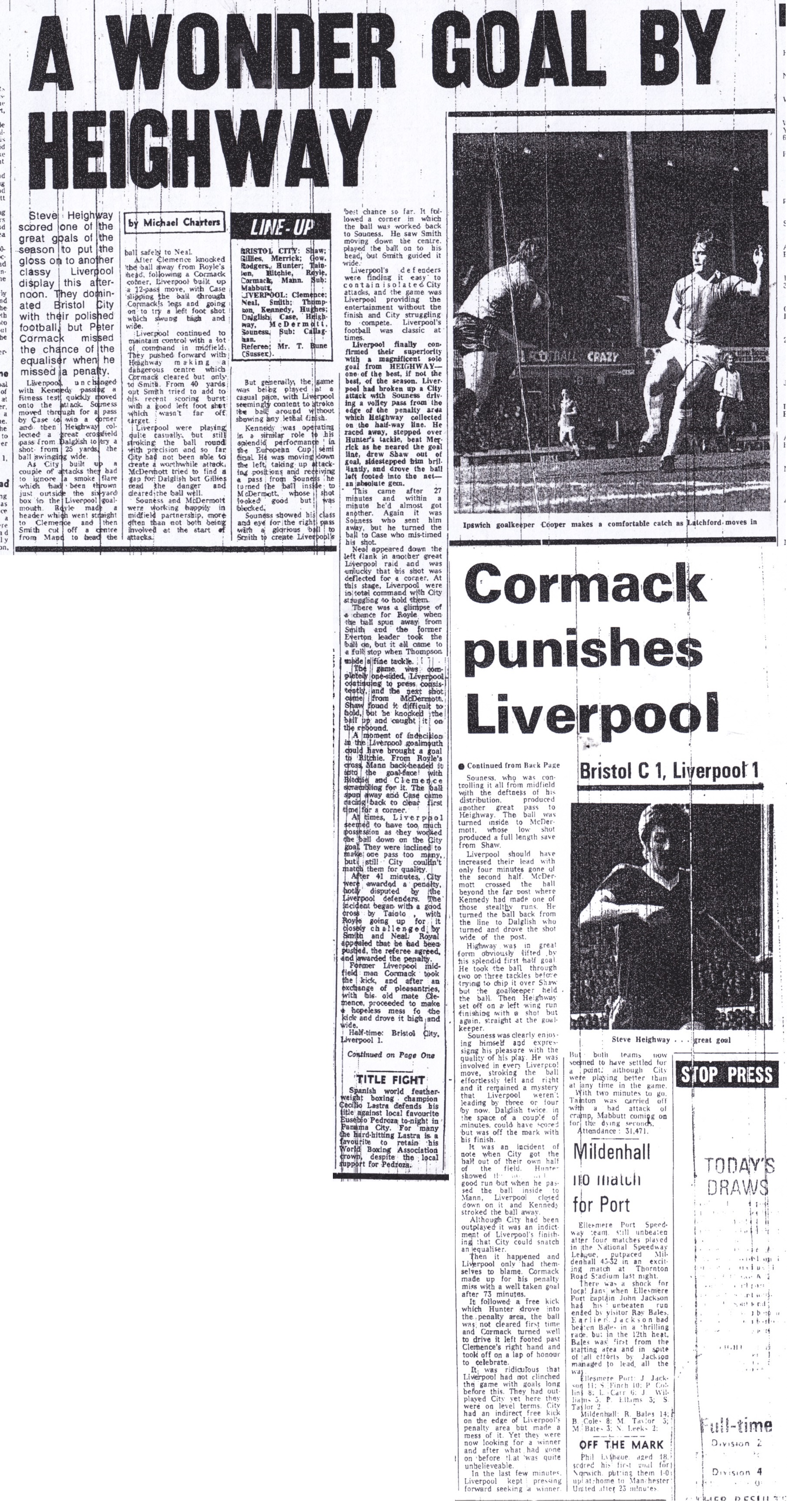 Cormack punishes Liverpool! - 15 April 1978