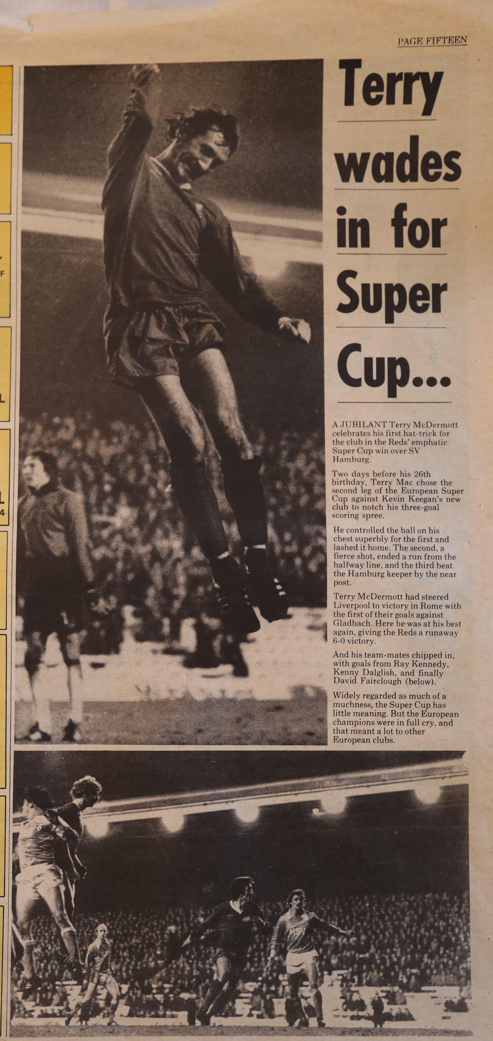 Terry wades in for the Super Cup - 6 December 1977