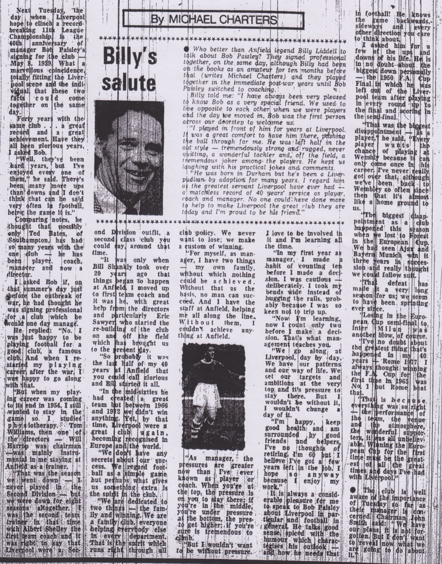 Billy Liddell's salute to Bob Paisley on 5 May 1979