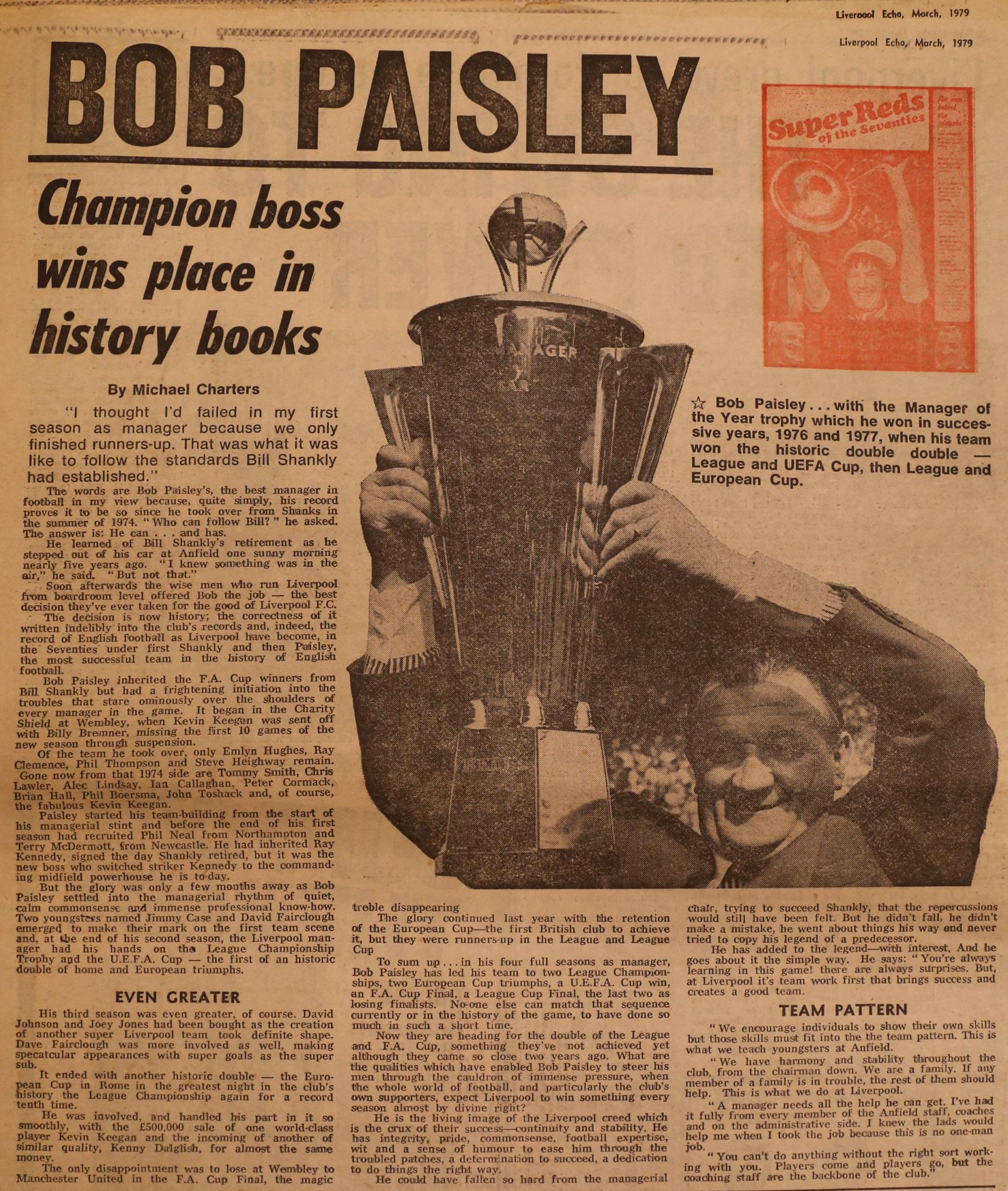 Paisley profile in the Liverpool Echo - March 1979