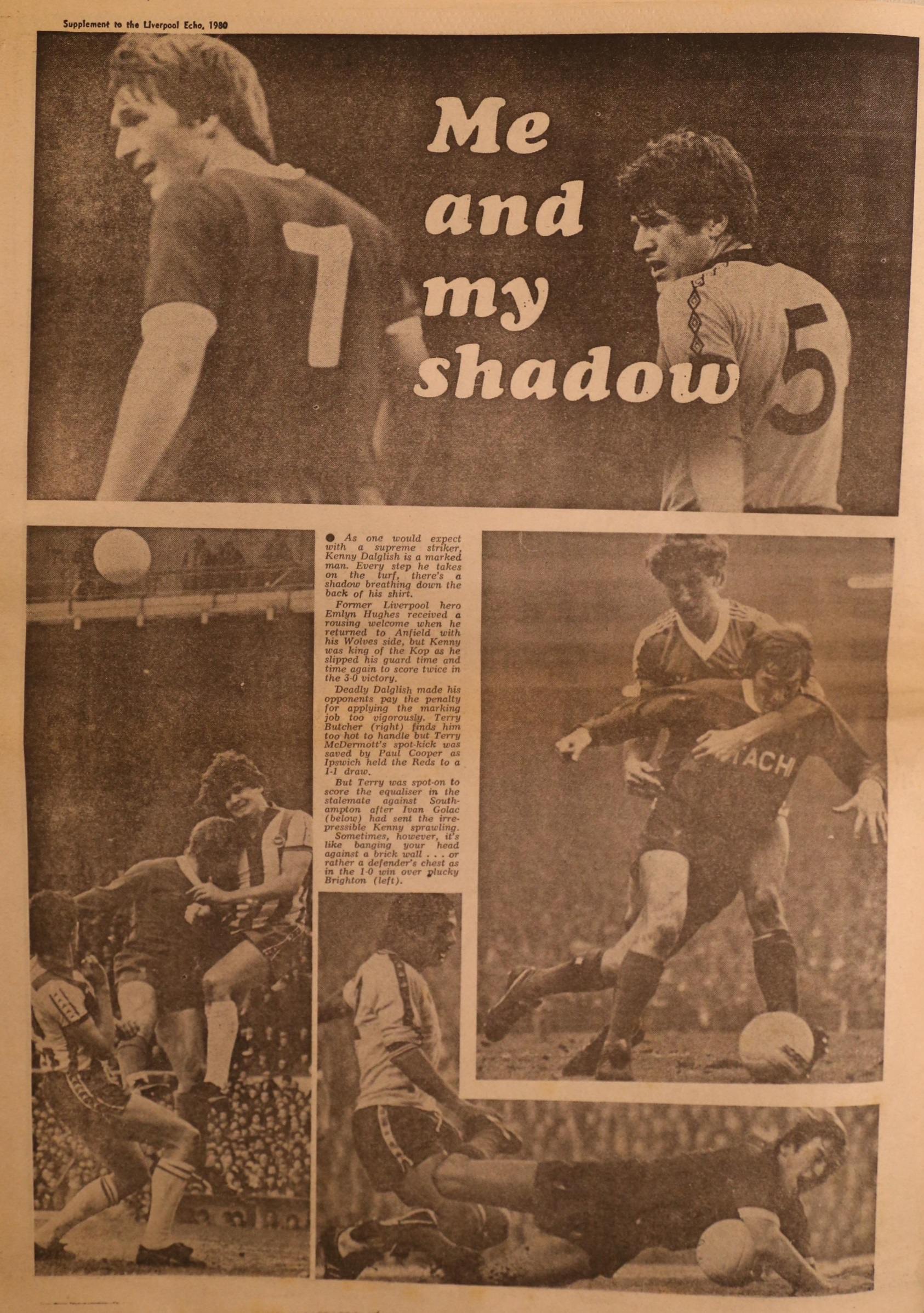 Me and my shadow - Emlyn stayed close to Dalglish - 3 May 1980