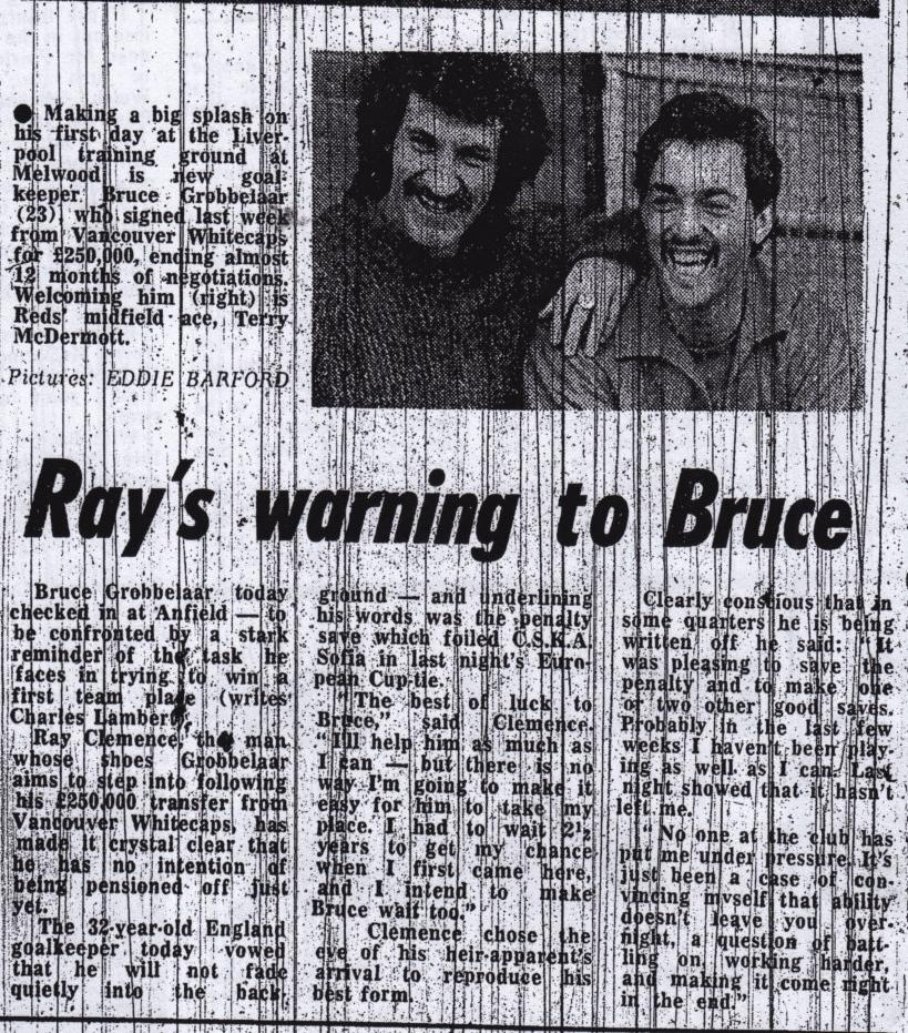 Ray Clemence's warning to Bruce - March 1981