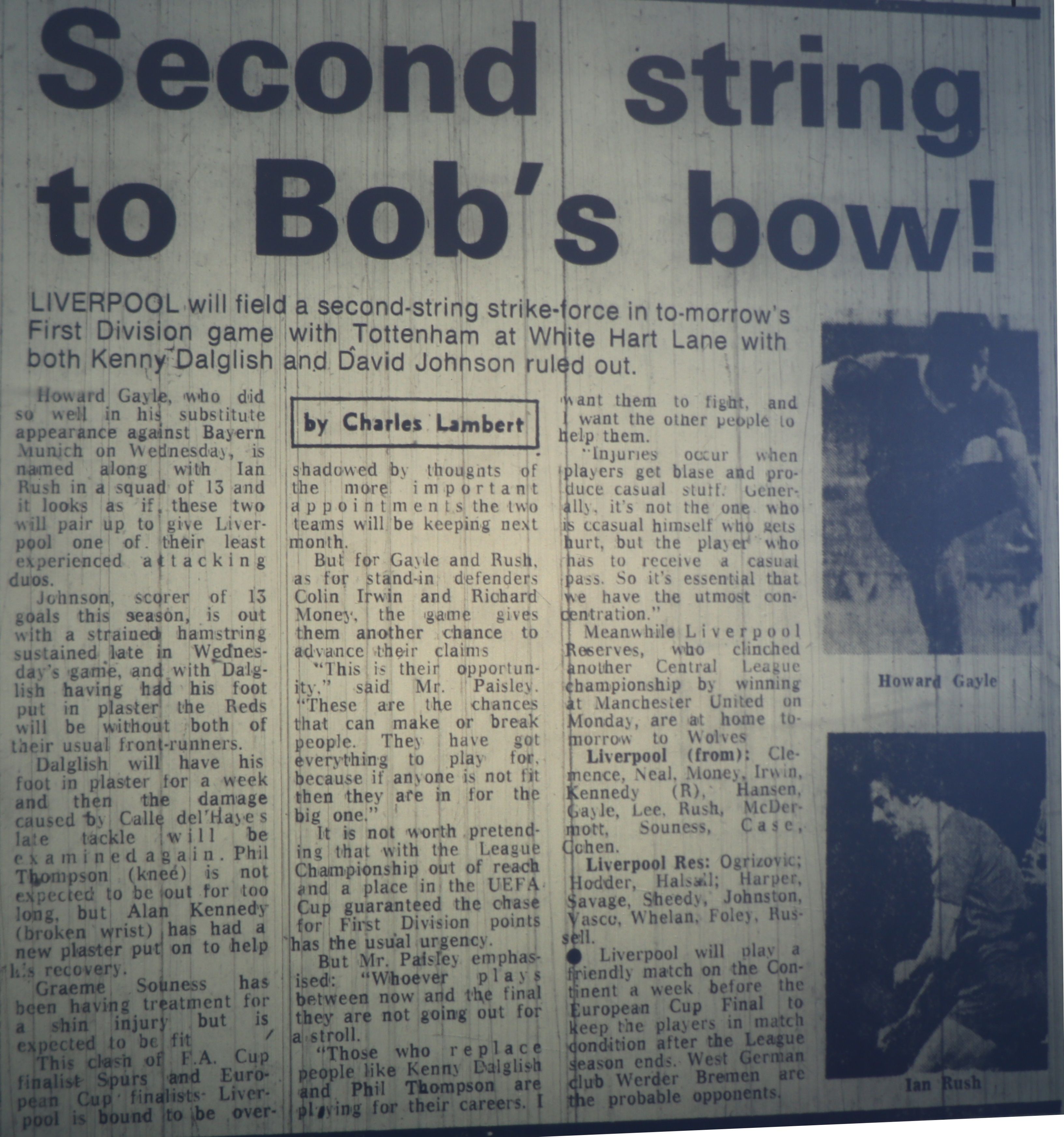Second string to Bob's bow! - 24 April 1981