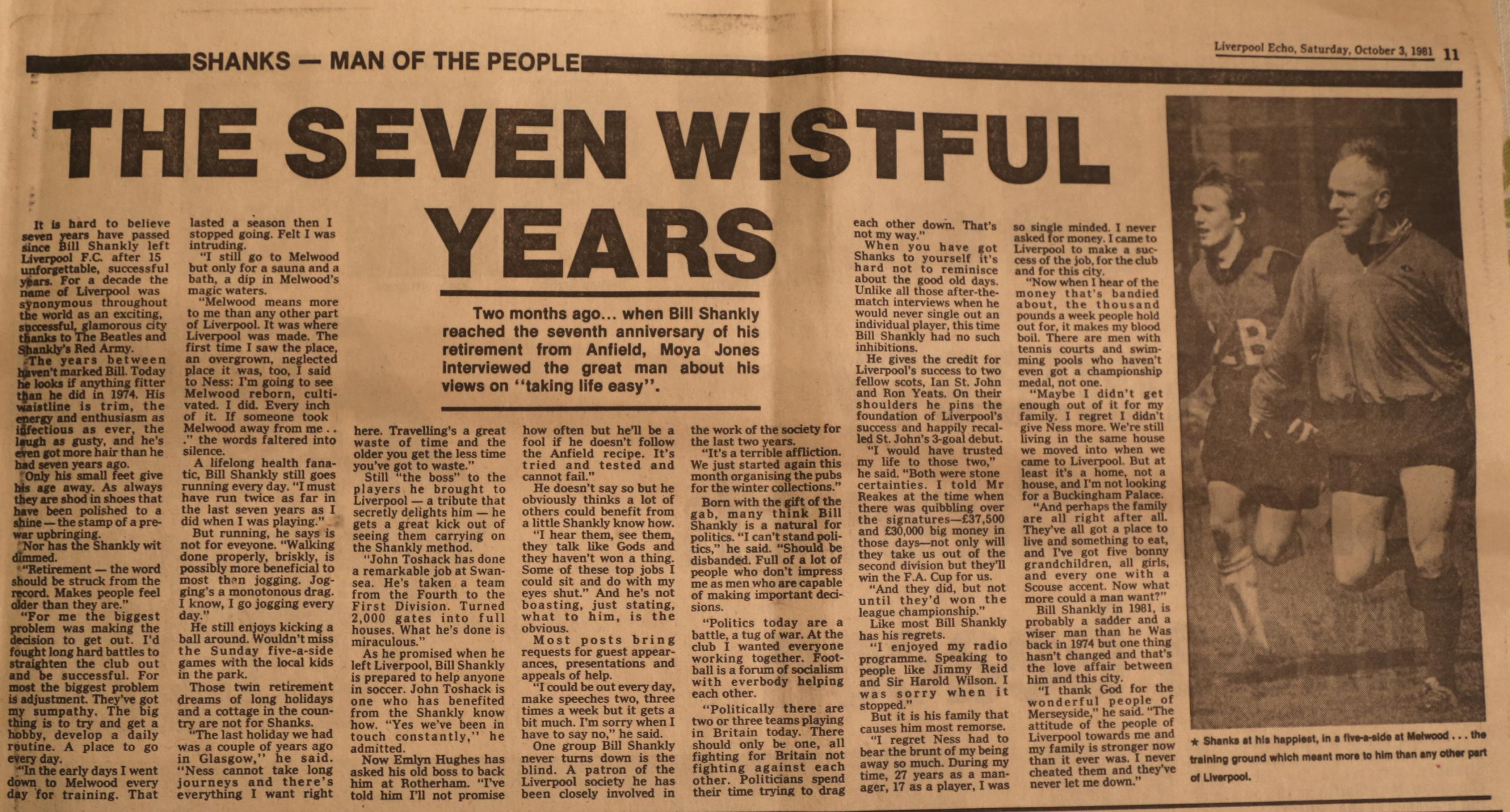 The seven wistful years - 3 October 1981