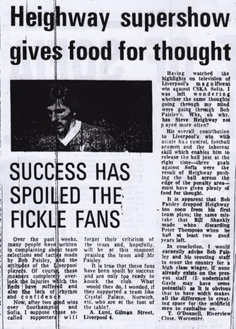 Heighway supershow gives food for thought - Echo letter in March 1981