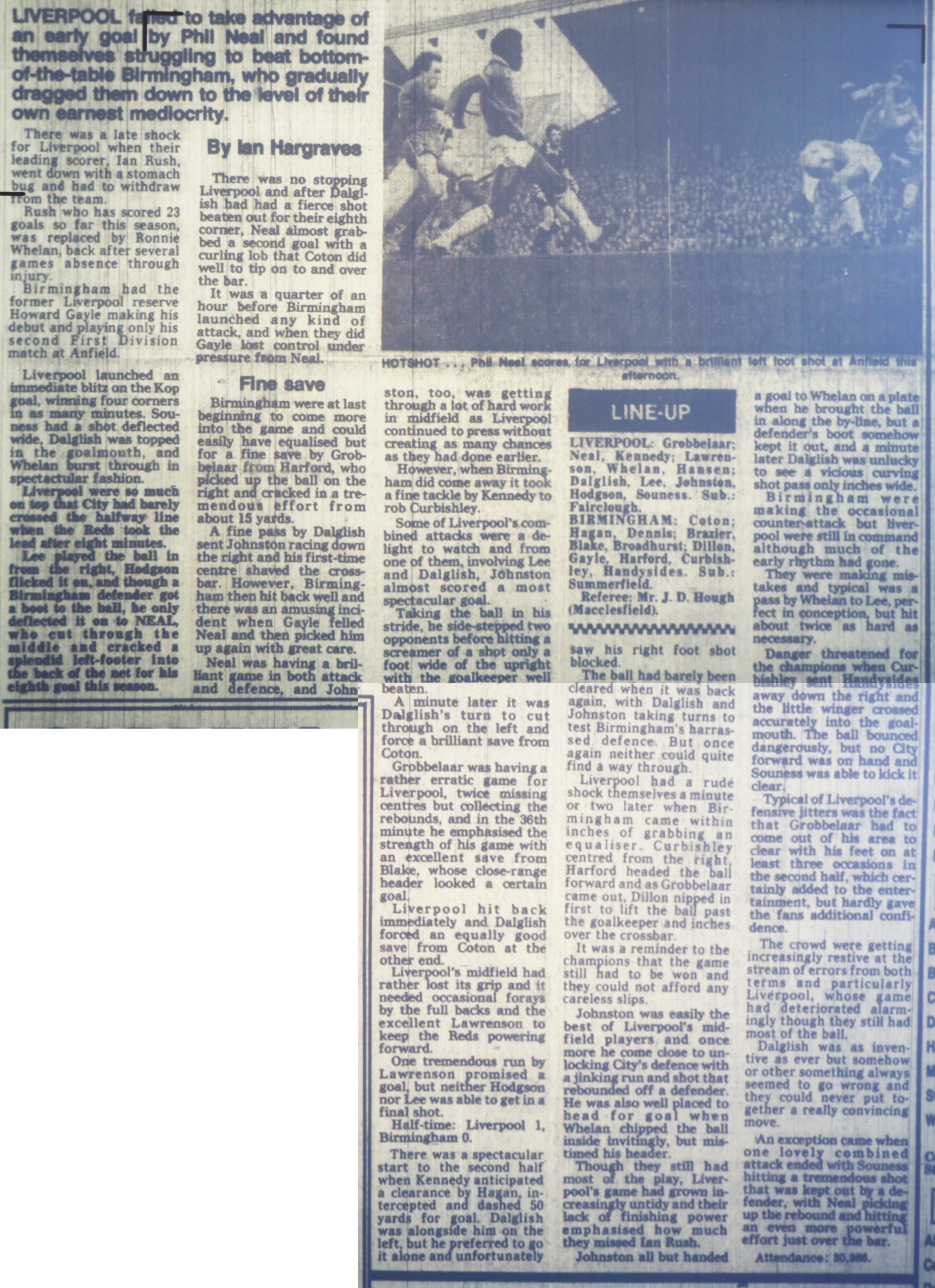 Gayle returns to Anfield - 22 January 1983