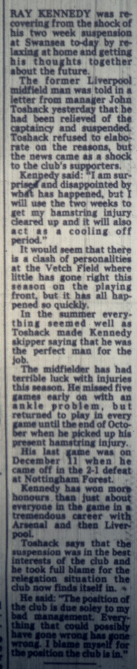 Kennedy stripped of captaincy by Swansea - 1982/83 season