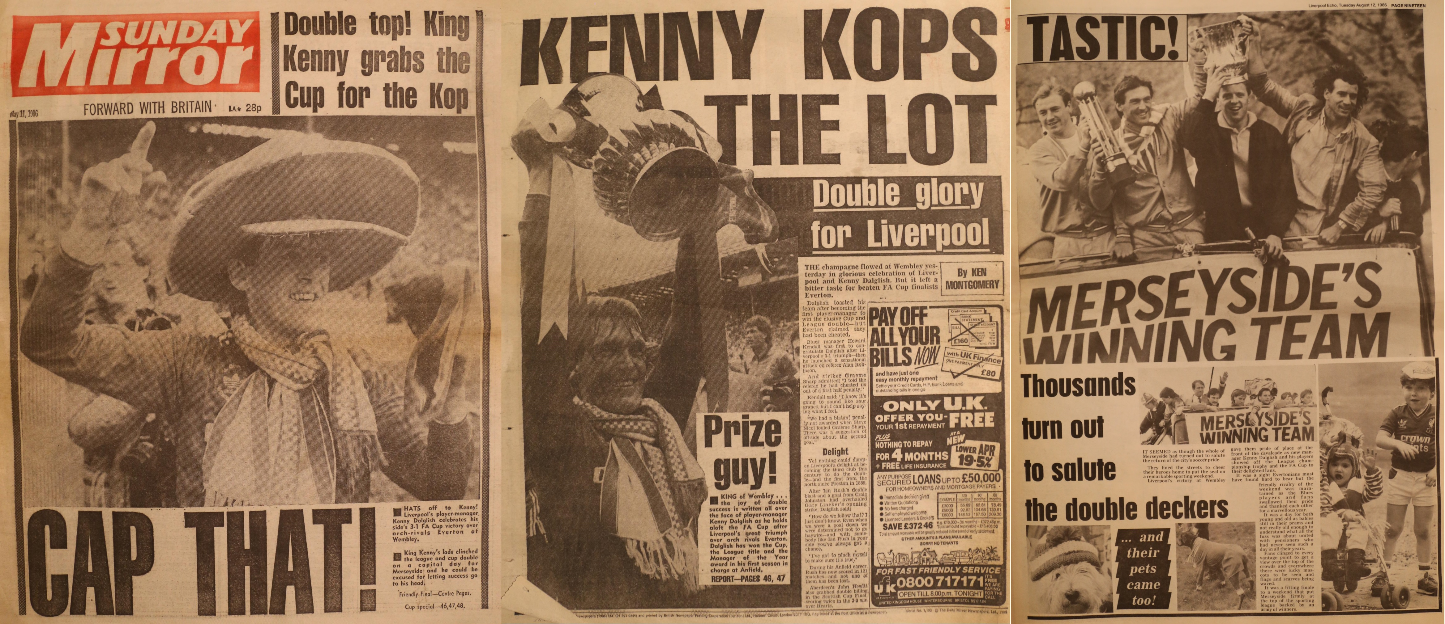 Kenny kops the lot! - Sunday Mirror 10 May 1986