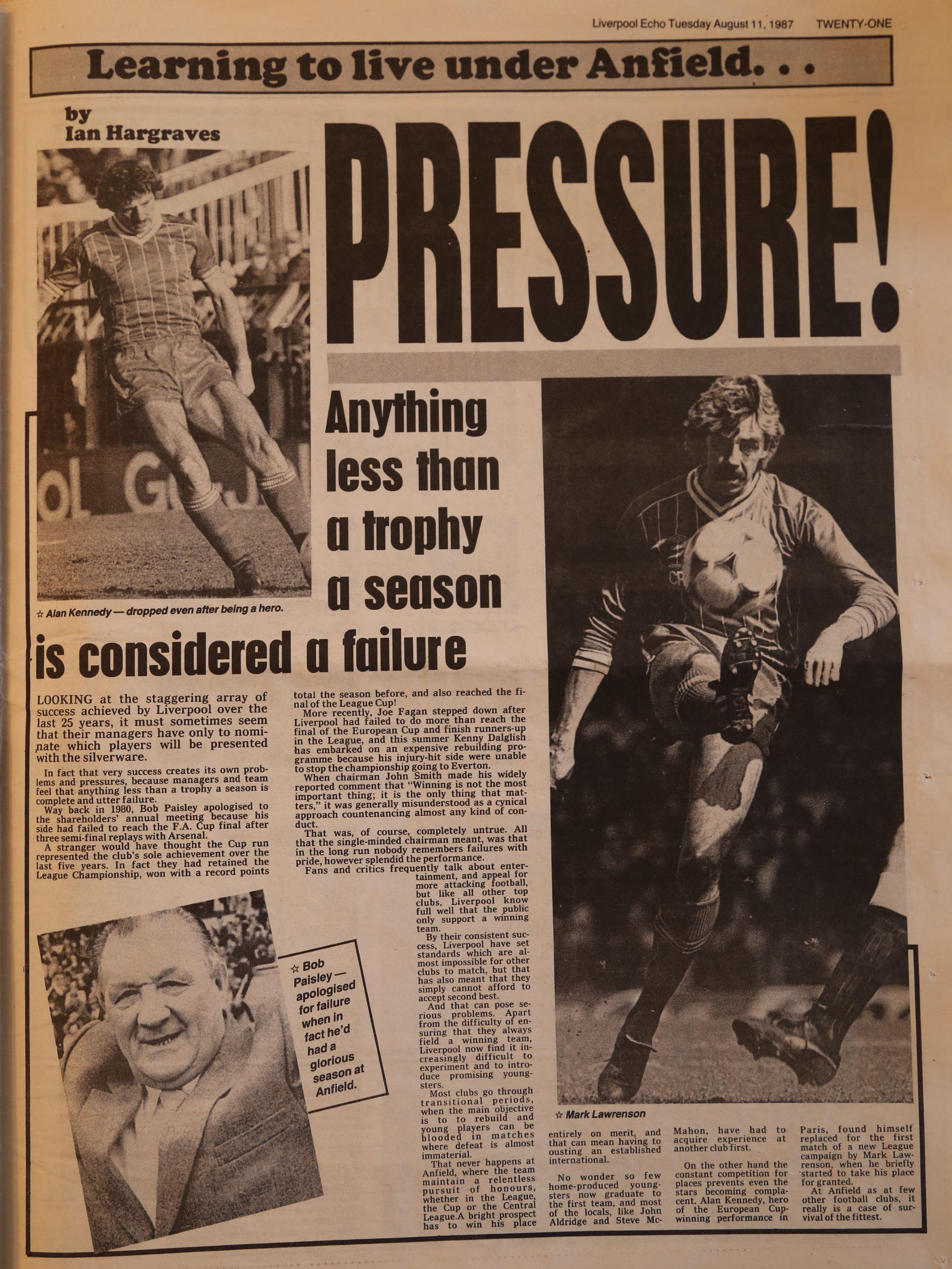 Learning to live with the Anfield pressure - 11 August 1987