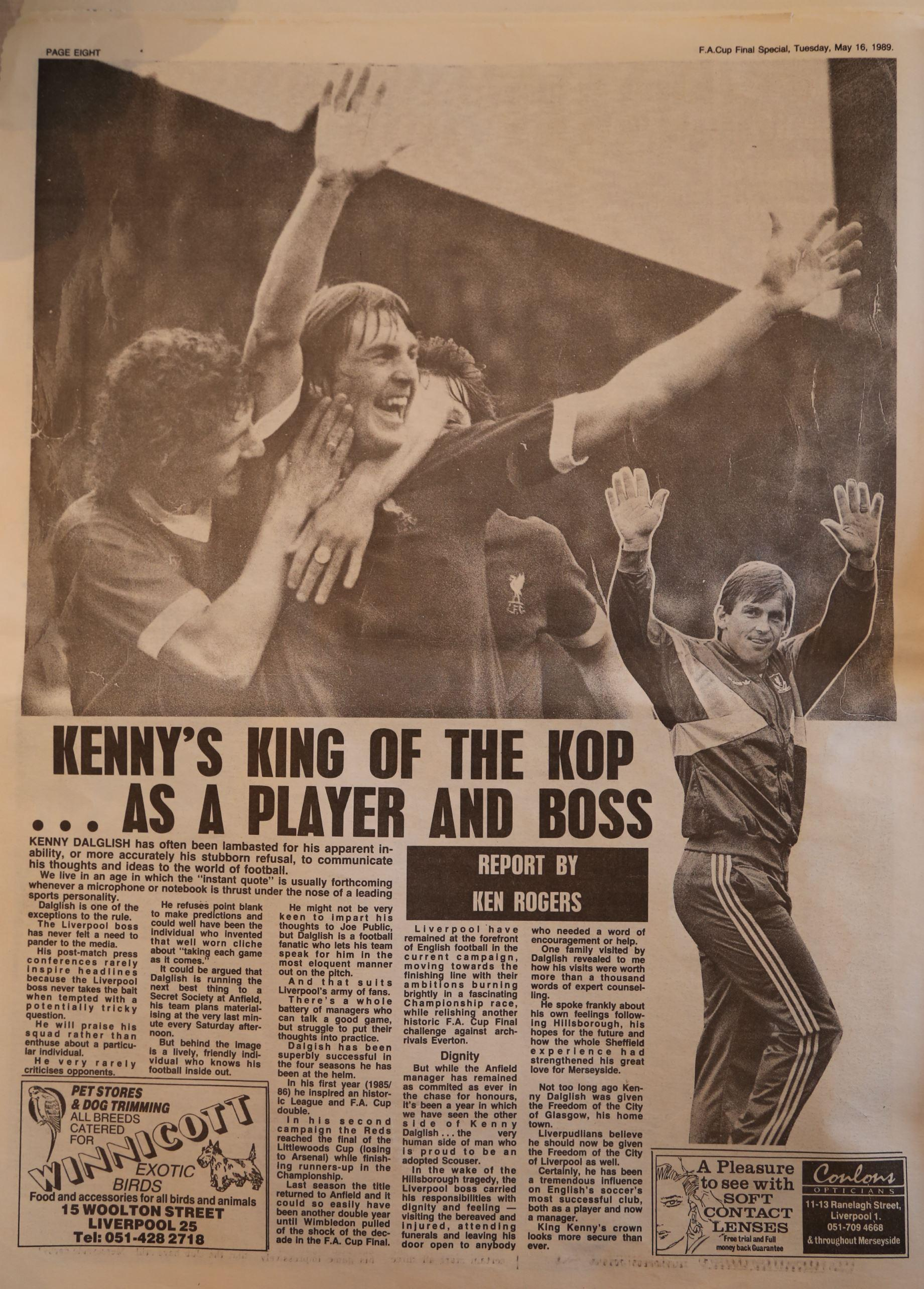 Kenny's king of the Kop! - 16 May 1989