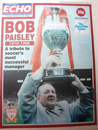 Liverpool Echo cover remembering Bob Paisley