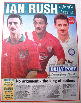 Daily Post back page on Ian Rush's second departure from Liverpool