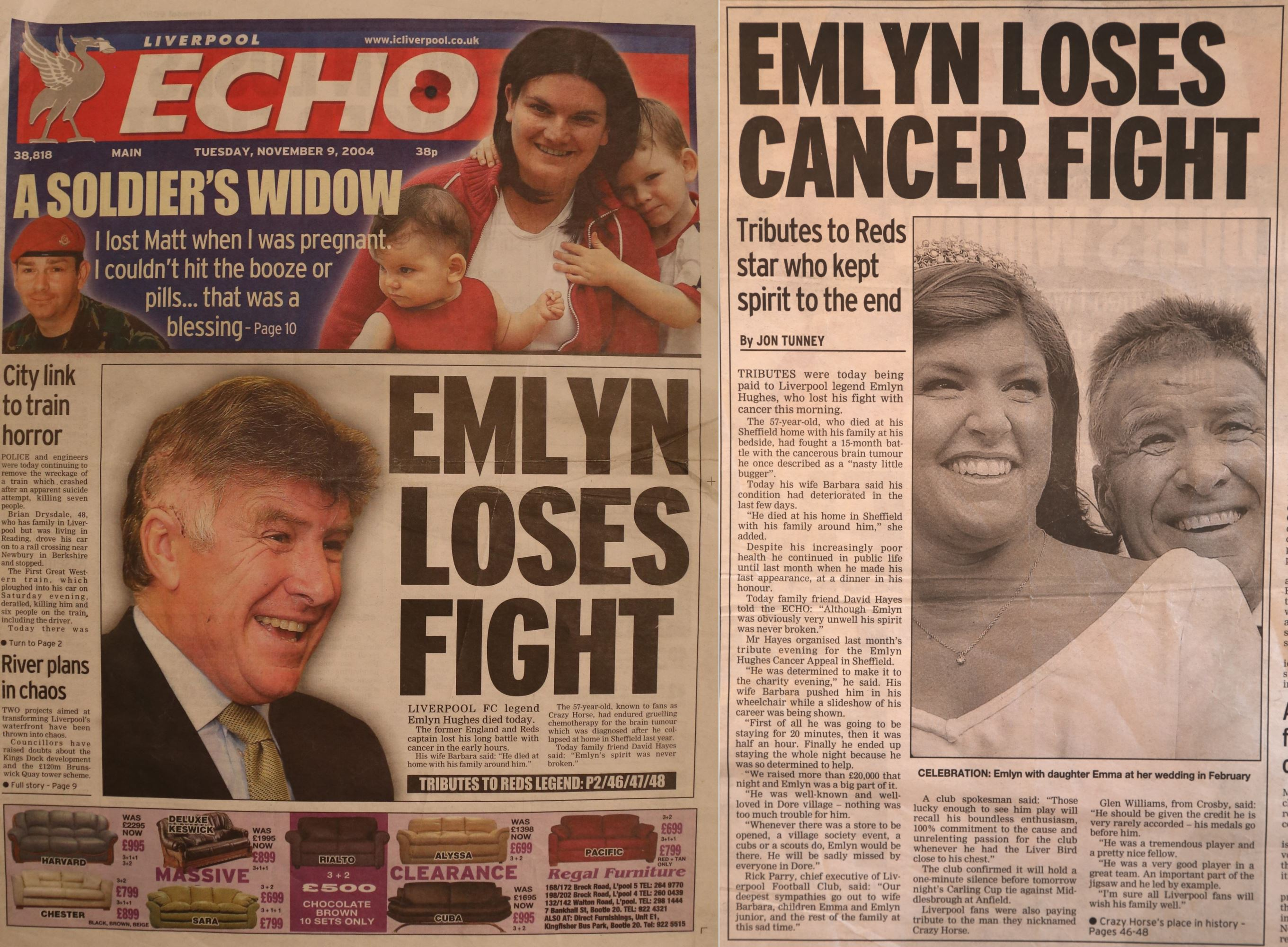 The cover of the Liverpool Echo on 9 November 2004