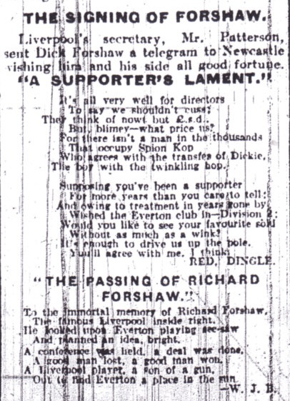Supporters dismayed by Forshaw's transfer to Everton in March 1927