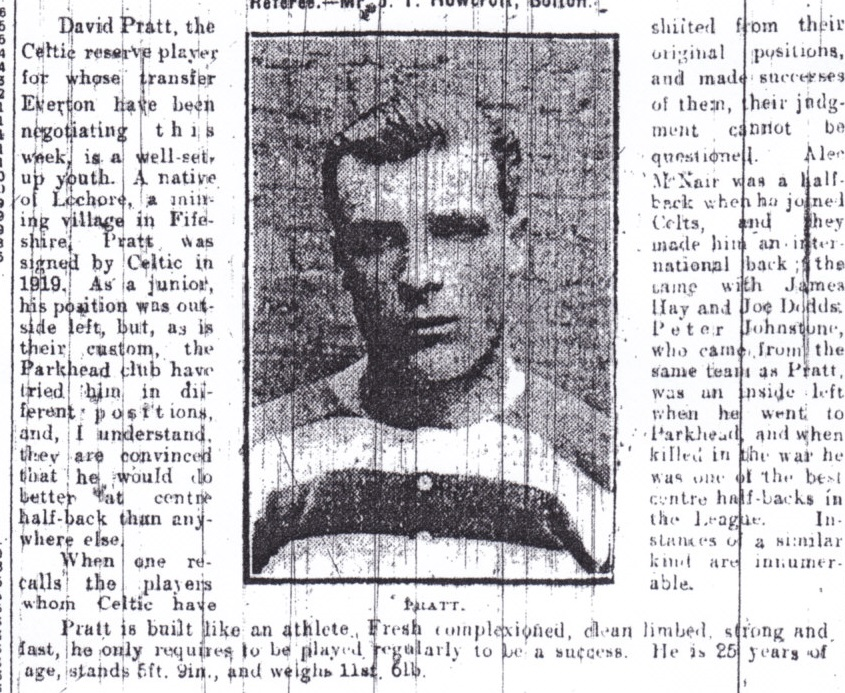 Spotlight on Pratt ahead of a proposed move to Everton in November 1921
