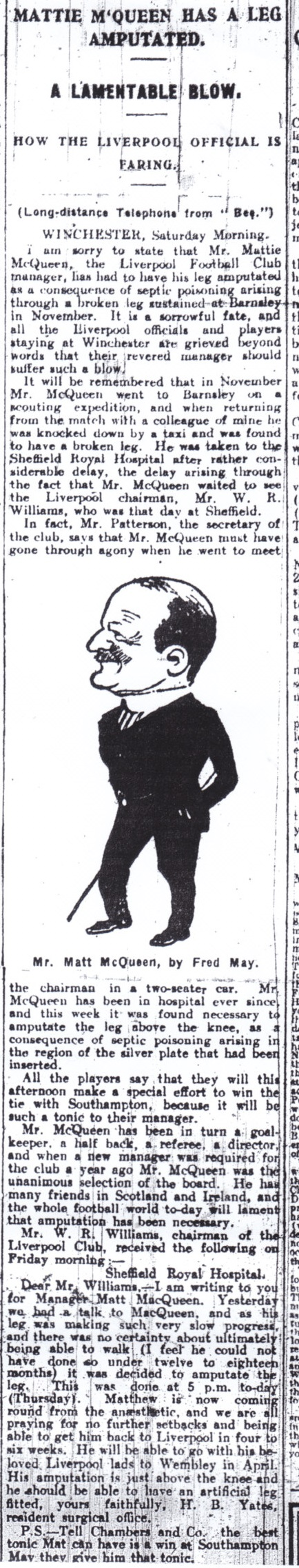 Matt McQueen'a leg amputated - 23 February 1924