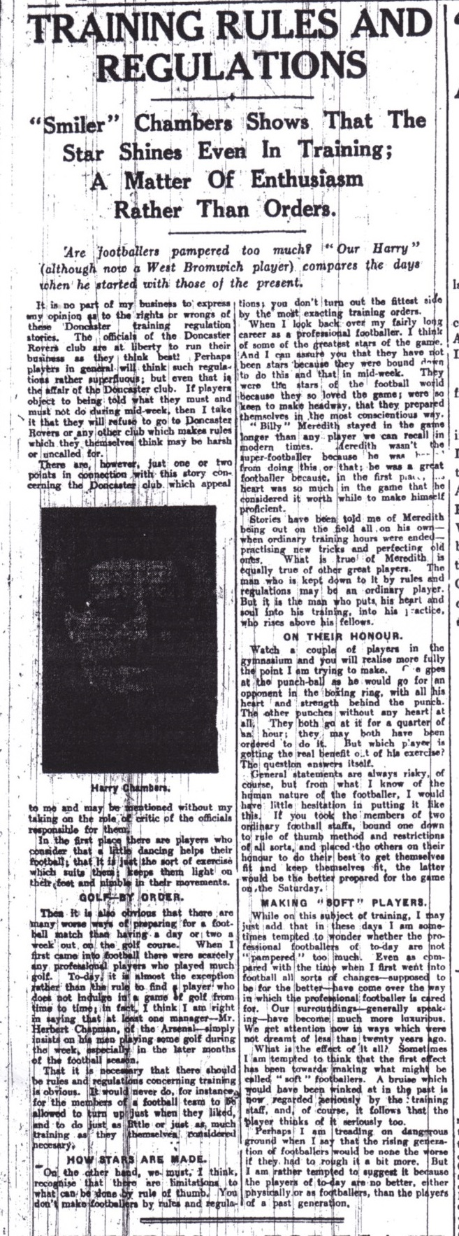 Harry Chambers' views on training in the Echo in October 1928