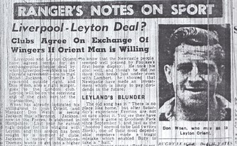 Woan to Leyton Orient - From the Echo on 5 November 1951
