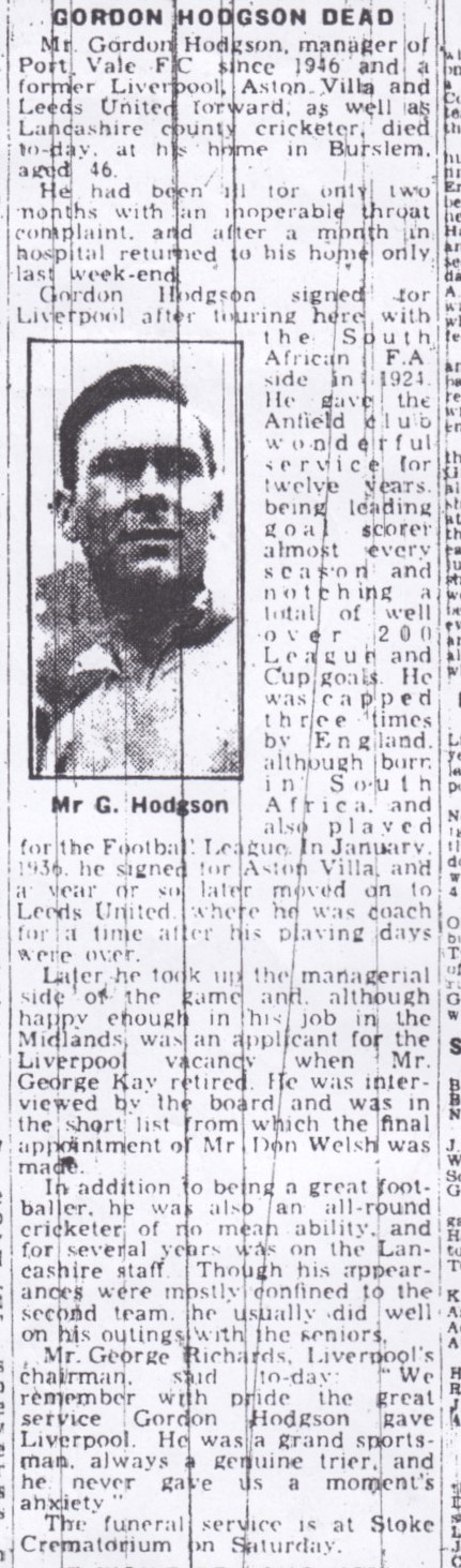 Gordon Hodgson's death announced in the Echo in June 1951