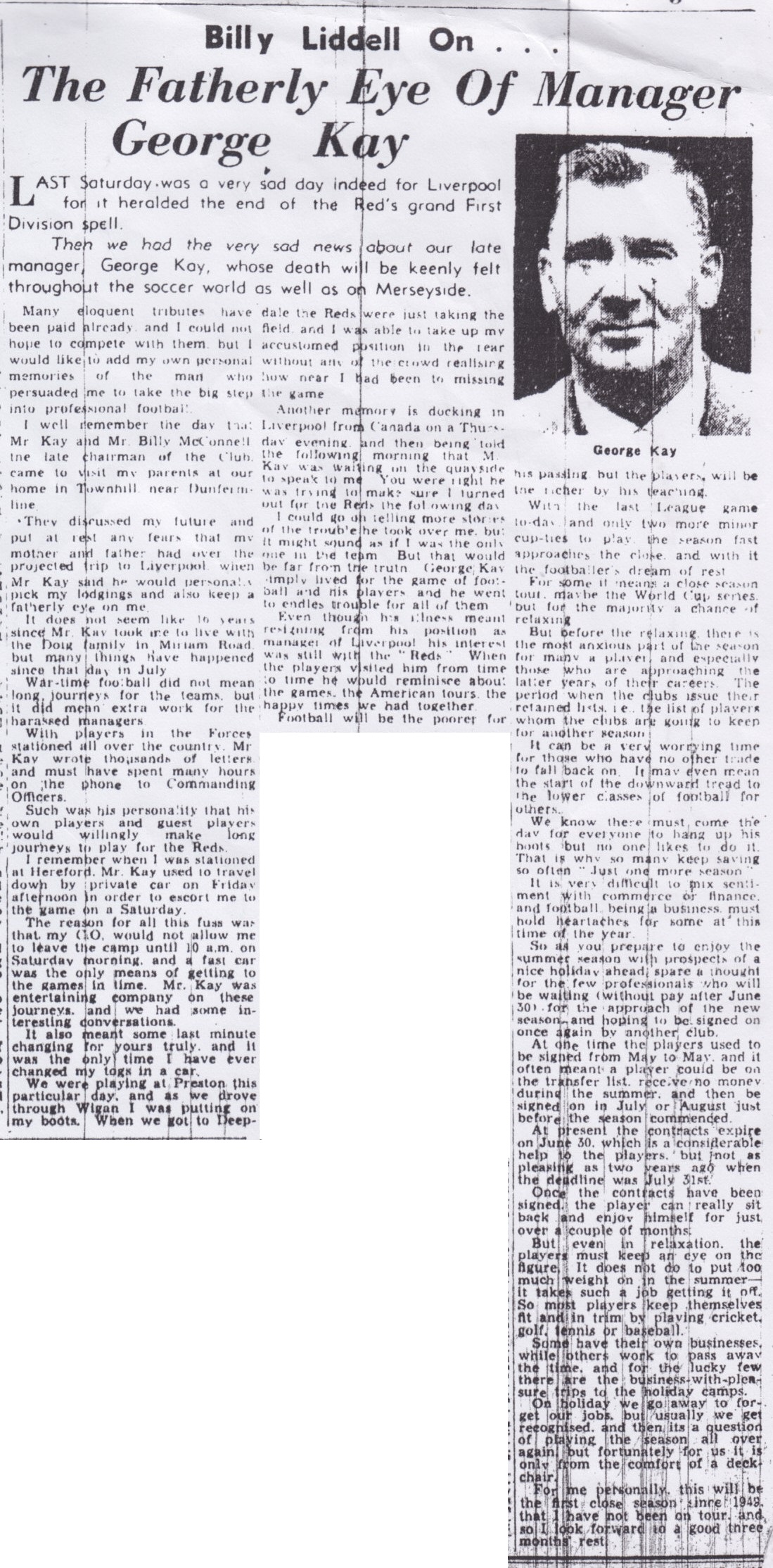 Billy Liddell on the fatherly eye of George Kay - April 1954