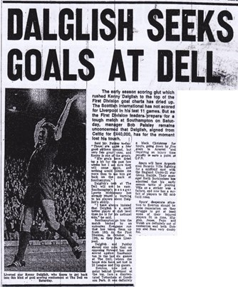 Dalglish seeks goals at Dell - from 22 April 1978