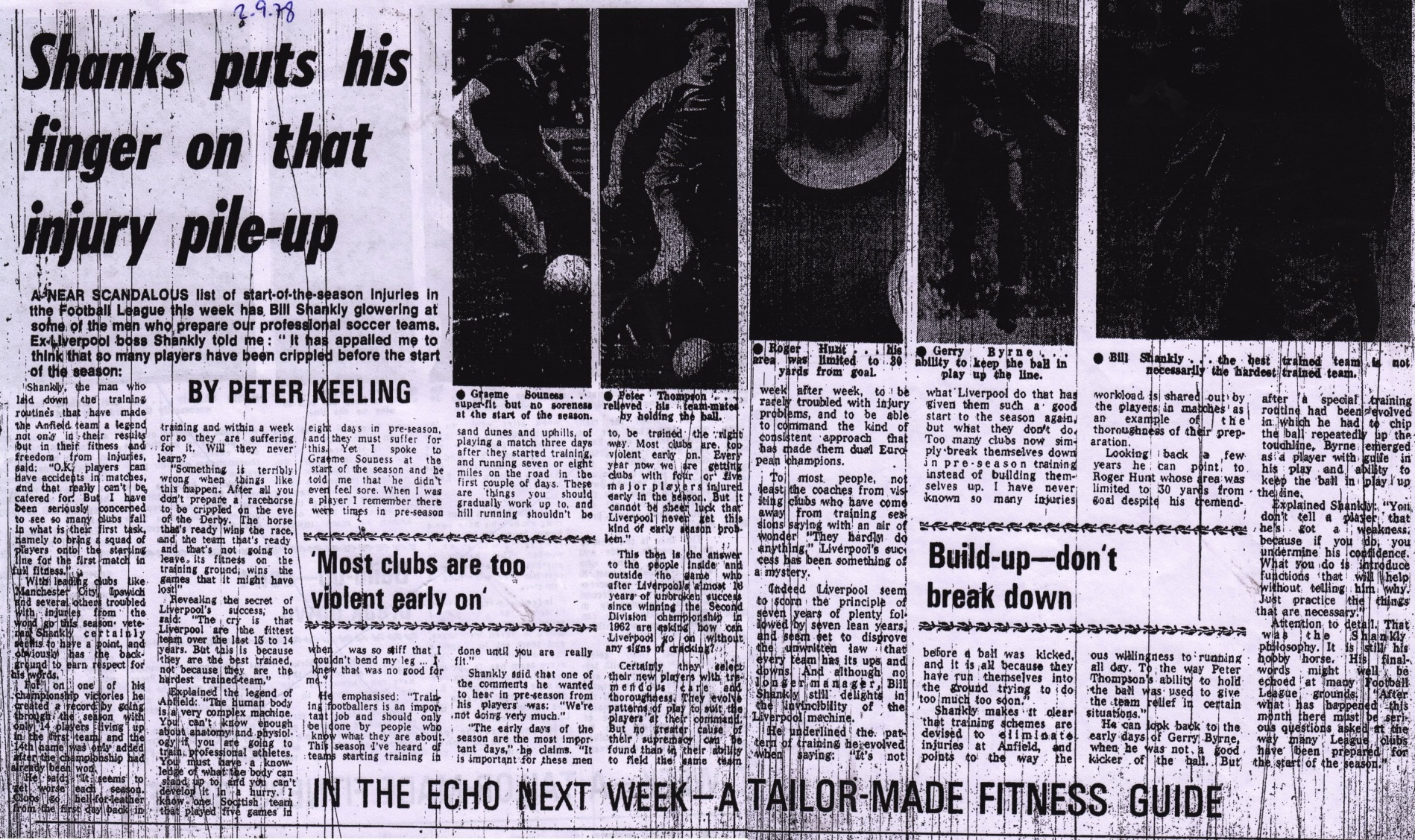 Shanks puts his finger on the injury pile-up - 2 September 1978