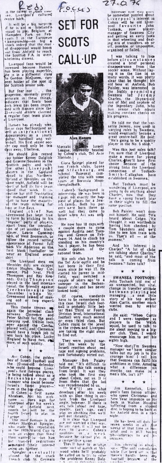 Reds focus from 27 January 1979