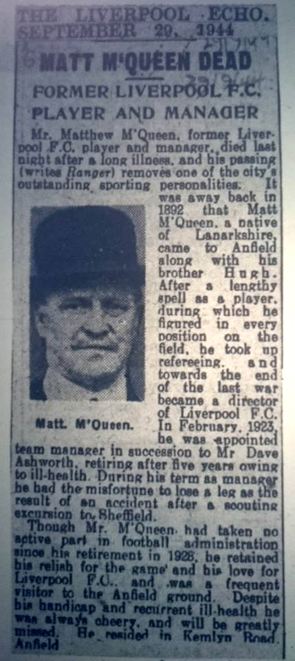 McQueen's death announced in the Echo - 29 September 1944