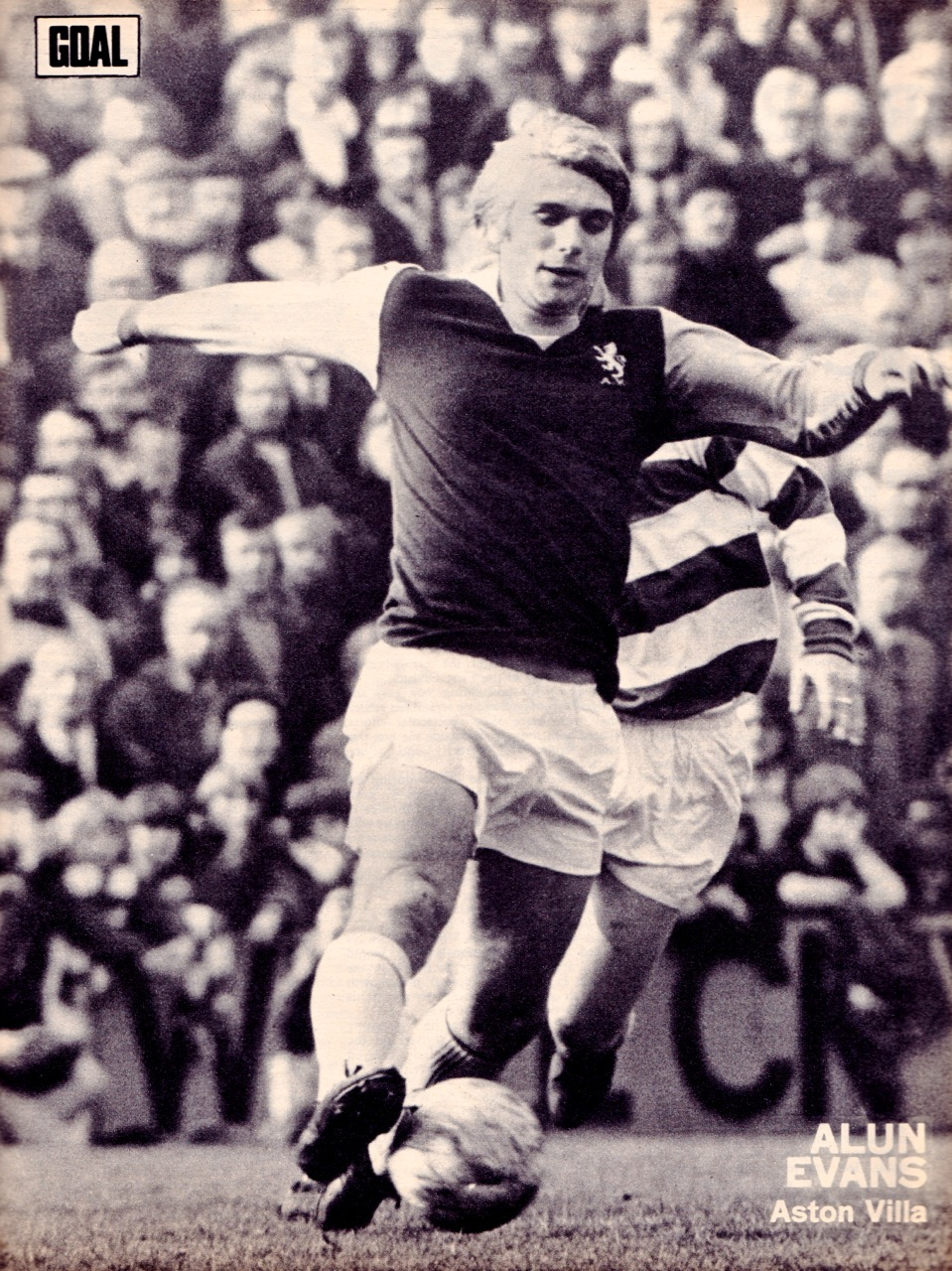 Poster of Evans in an Aston Villa shirt 1973