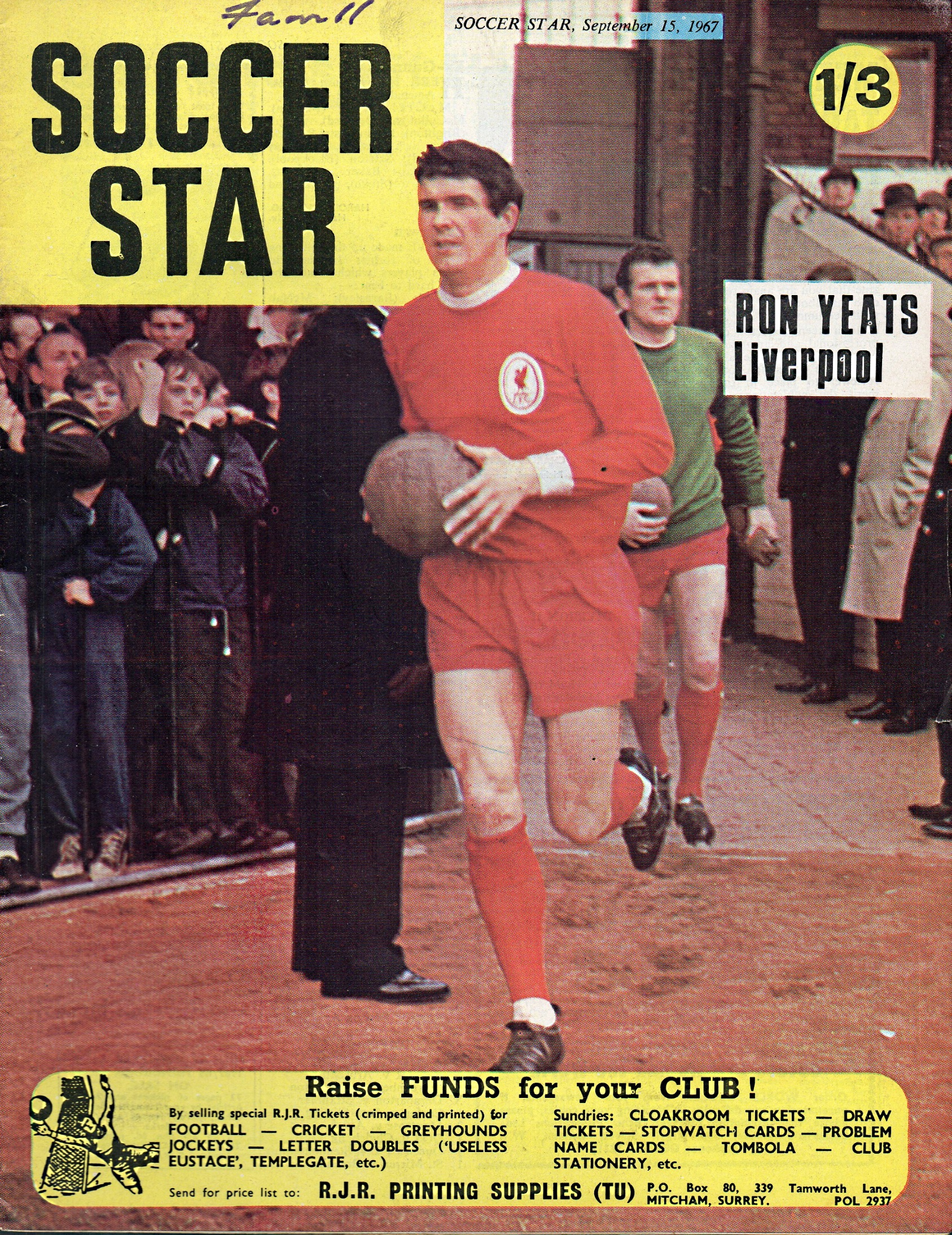 Yeats on the cover of Soccer Star 15 September 1967