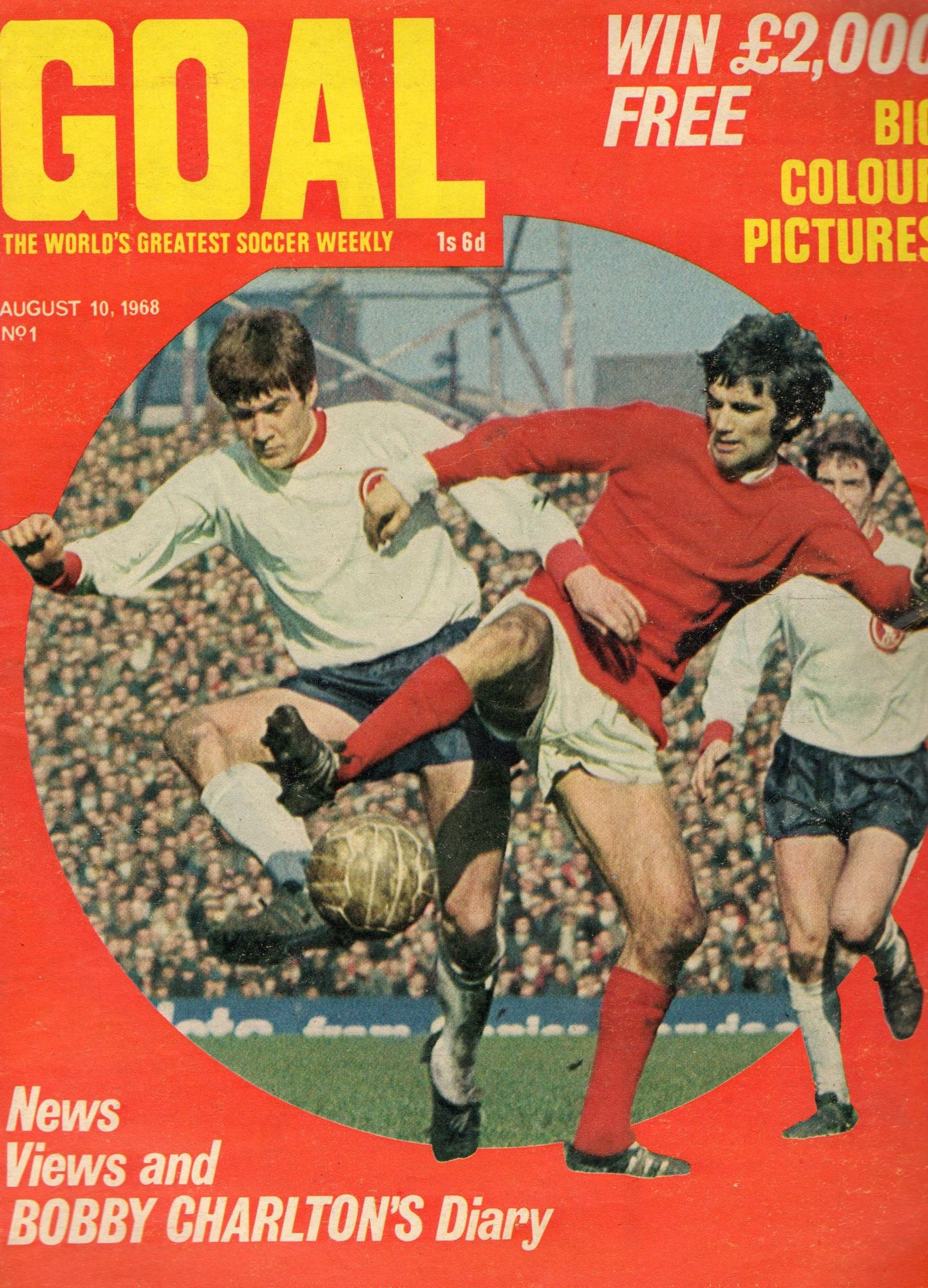 Emlyn on the cover of Goal - 10 August 1968