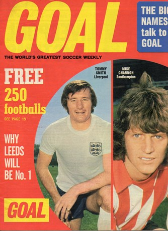England's Tommy Smith on the cover of Goal 23 August 1973