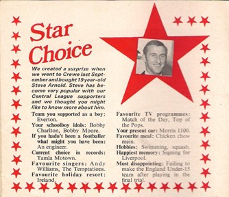 Steve Arnold in Star Choice from the Liverpool match programme
