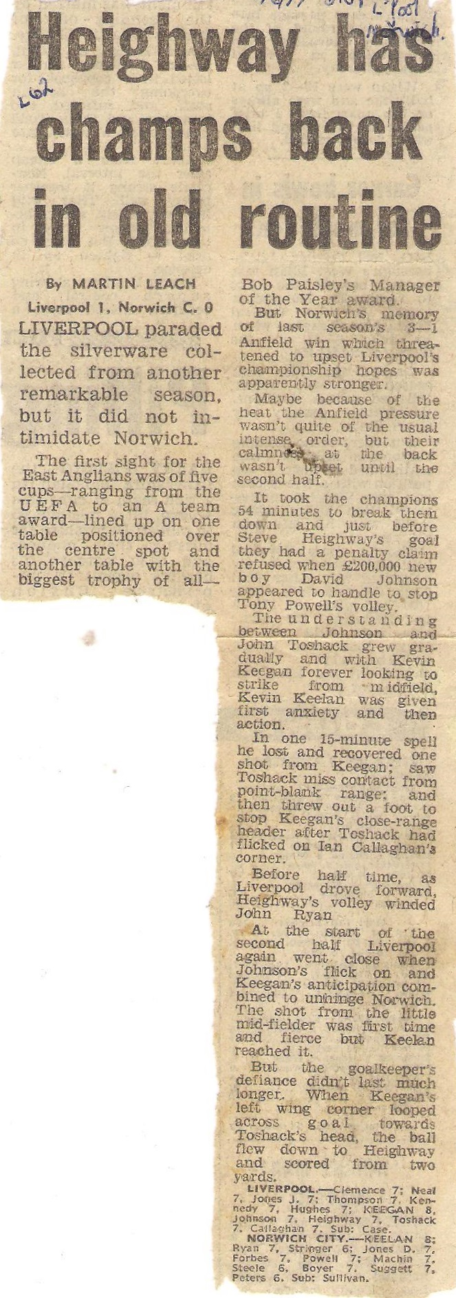 Heighway has champs back in old routine - 21 August 1976