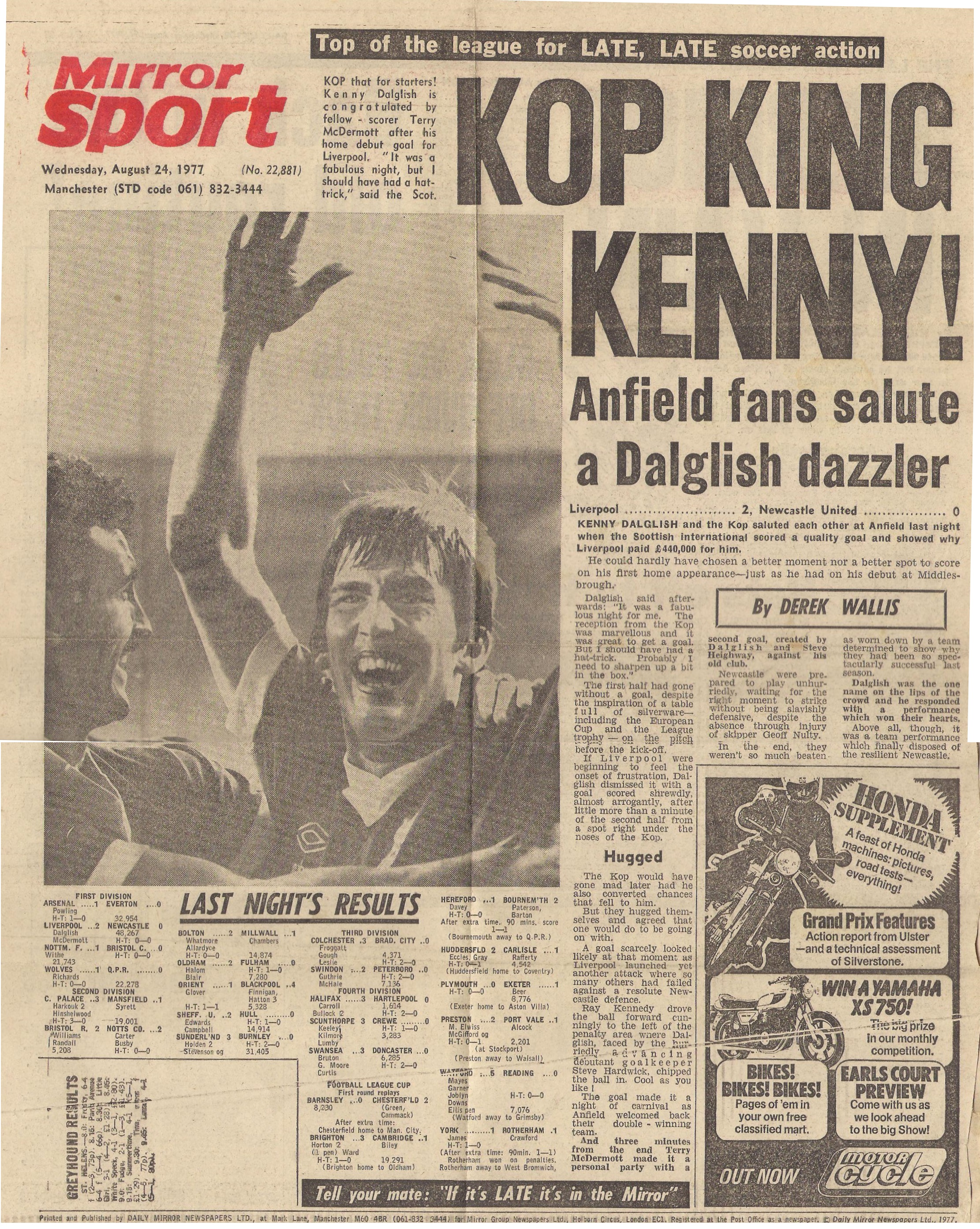 Kop king Kenny! - 23 August 1977