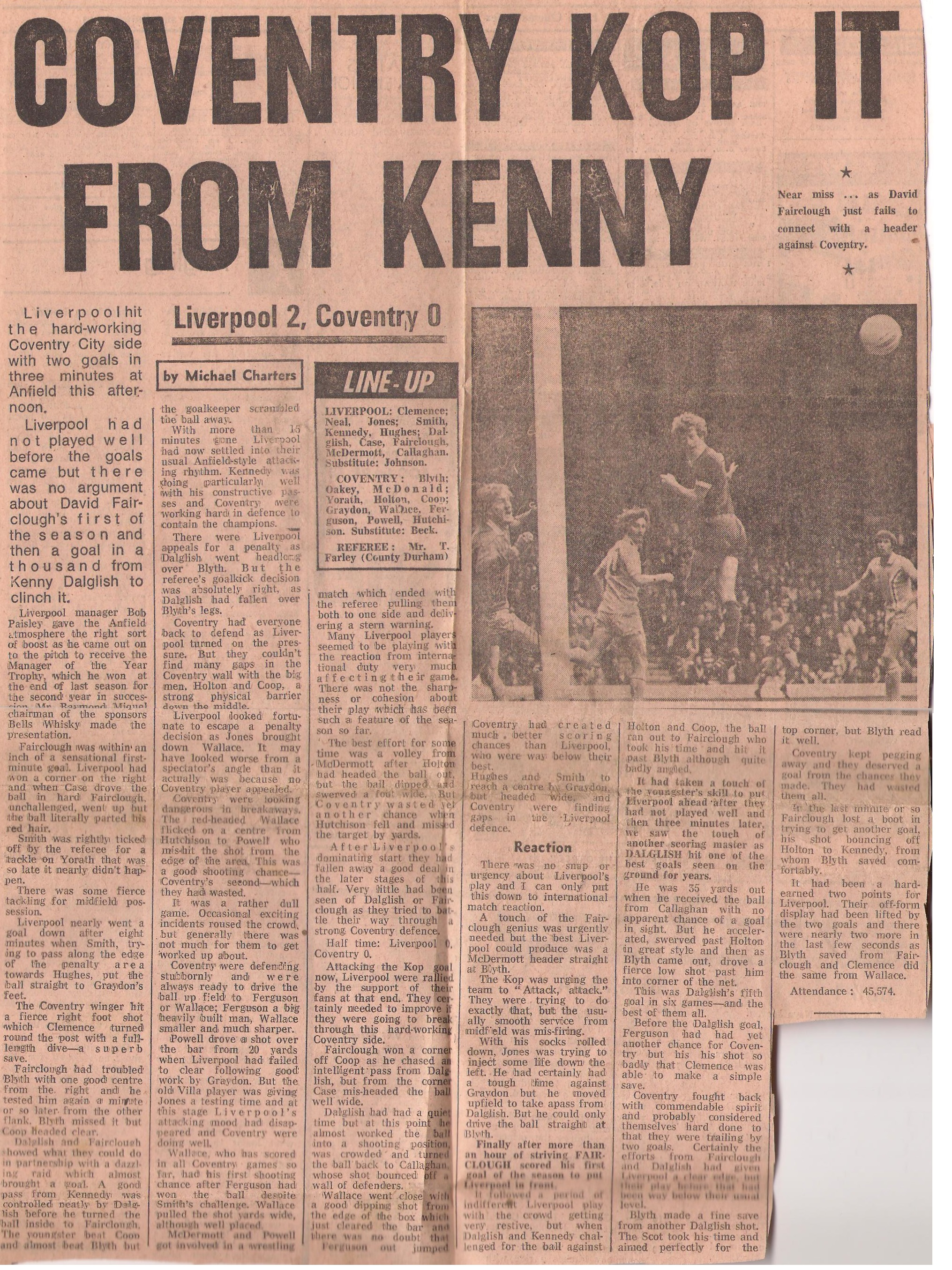 Coventry kop it from Kenny! - 10 September 1977