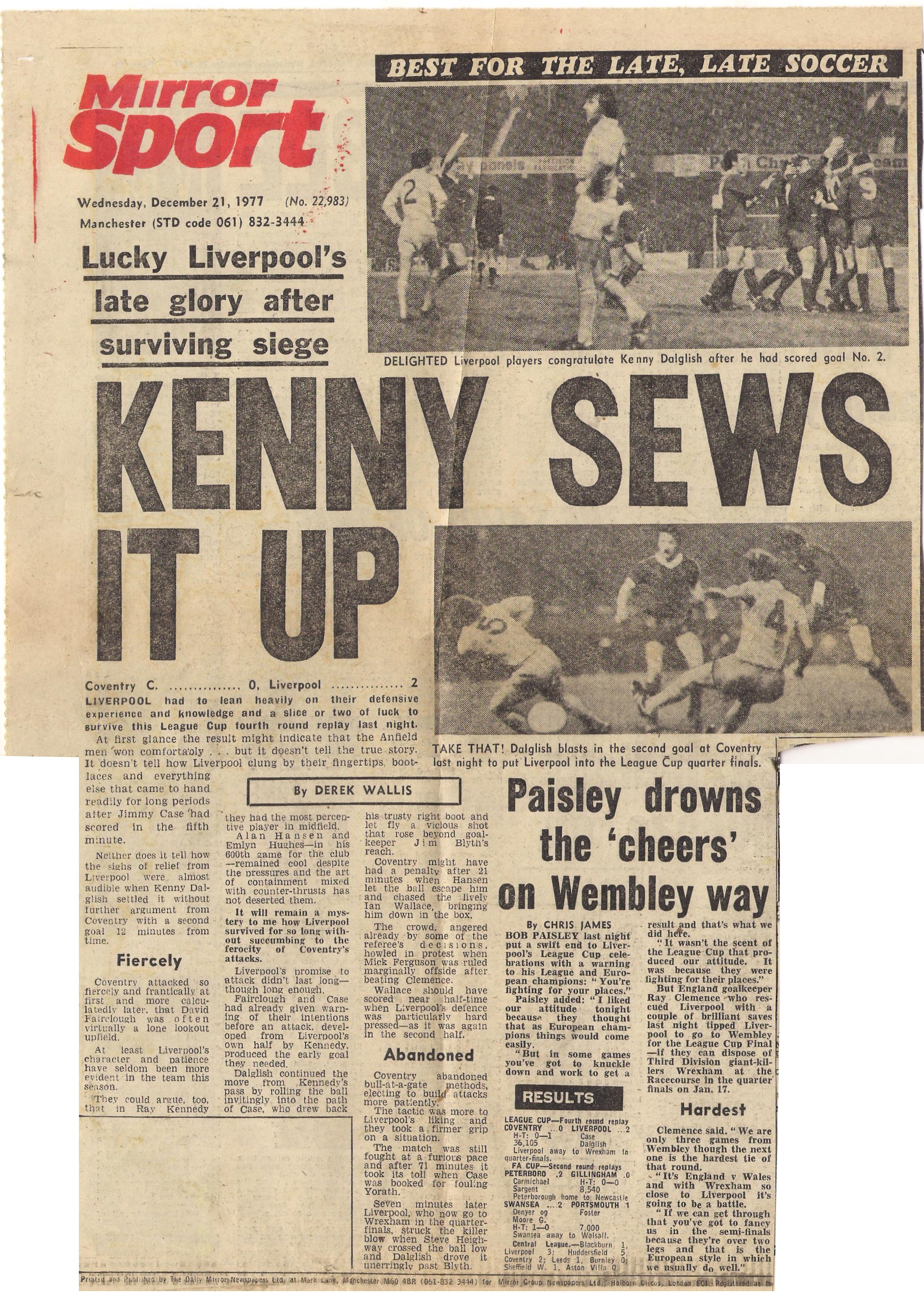 Kenny sews it up! - 20 December 1977