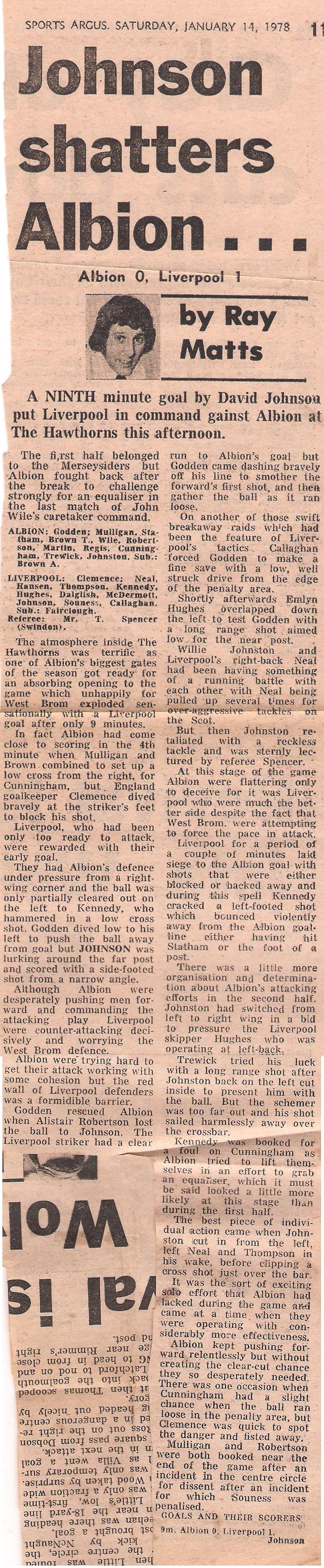 Johnson shatters Albion - 14 January 1978