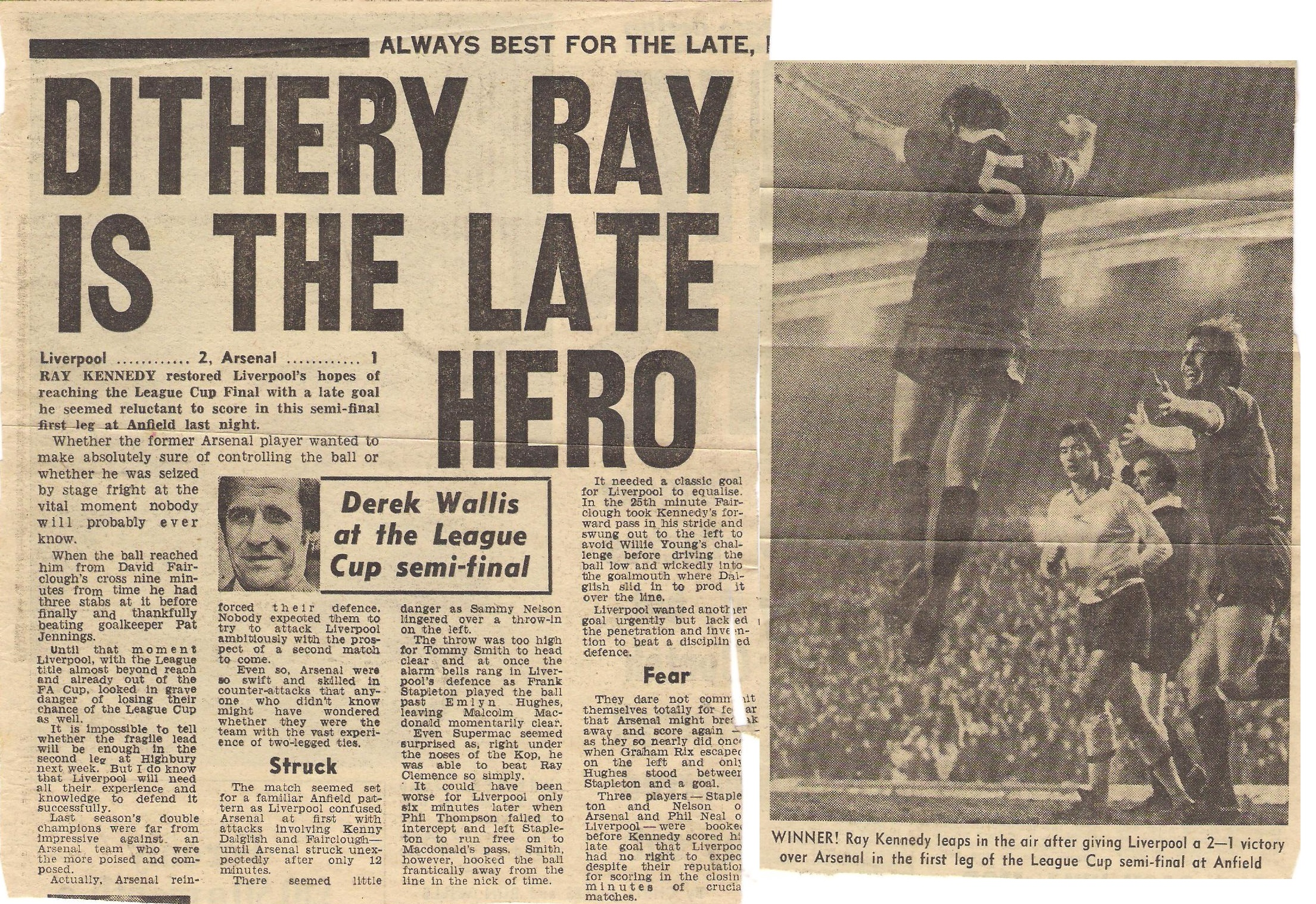 Dithery Ray is the late hero - 7 February 1978