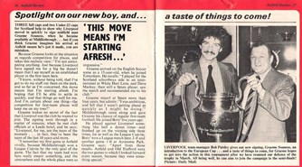 Souness welcomed by the LFC match programme in January 1978