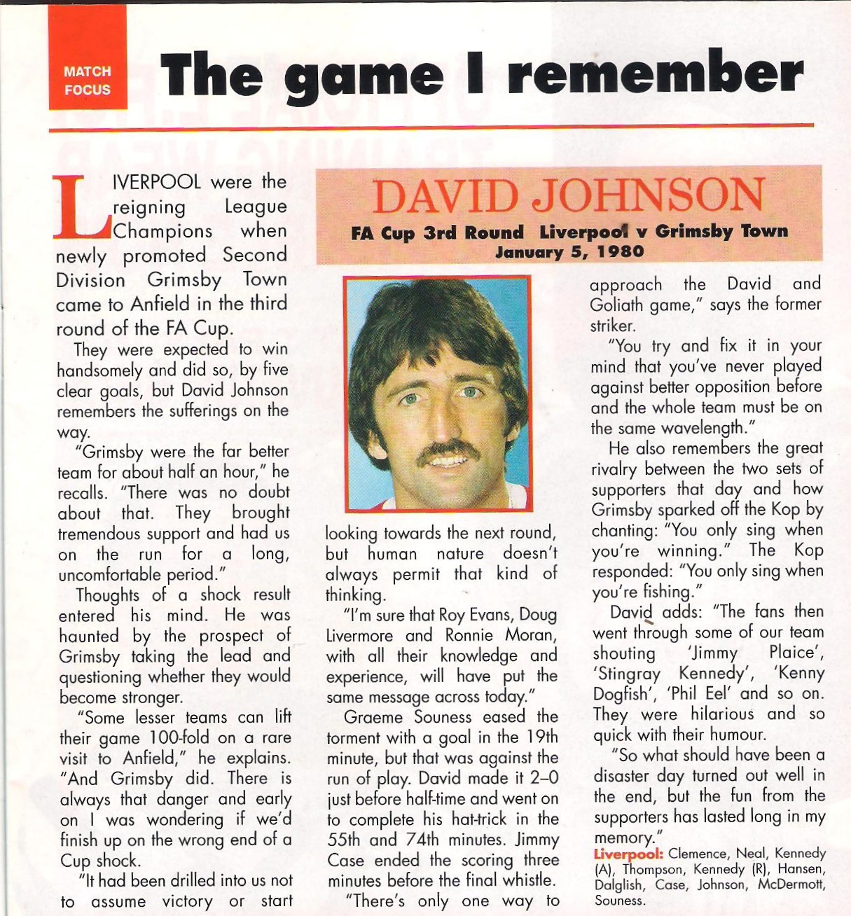 Johnson recollects a game against Grimsby on 5 January 1980